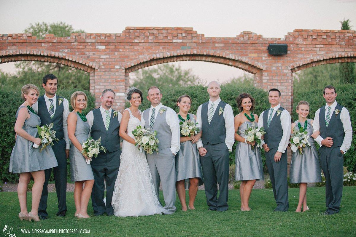 wedding party portrait at Windmill Winery wedding elegant rustic barn venue