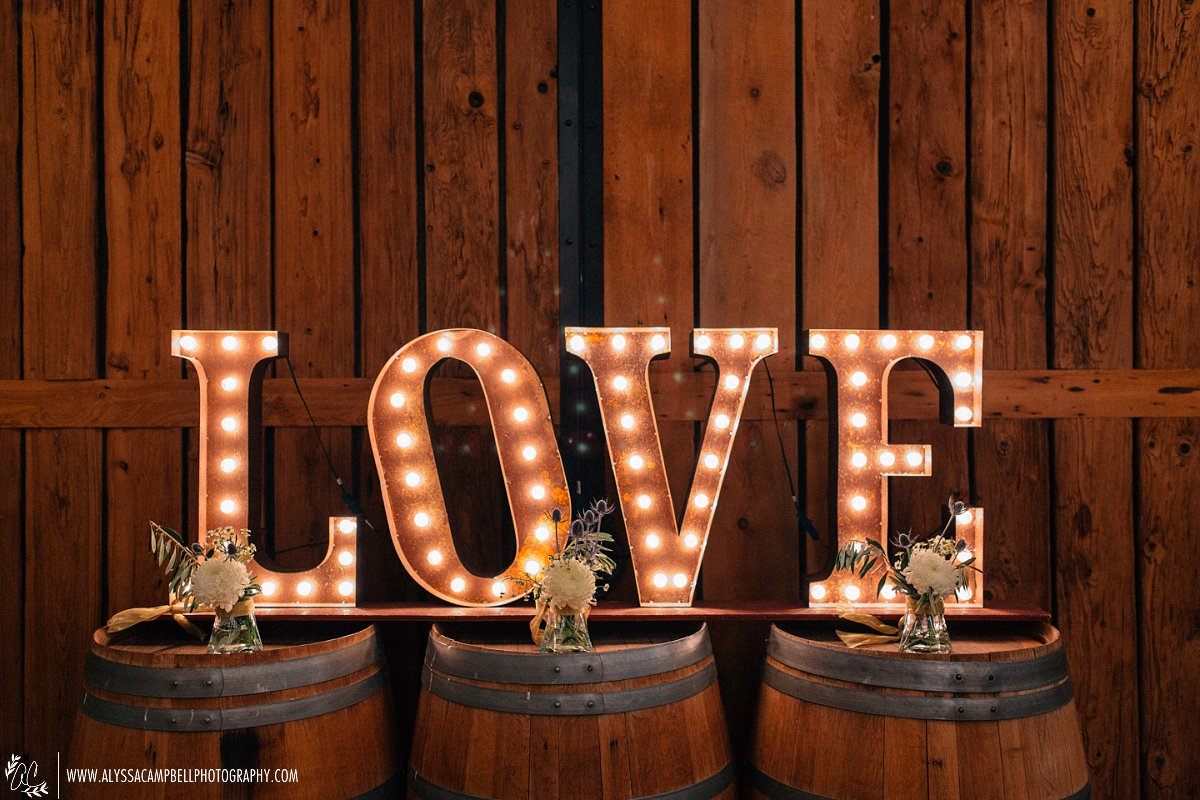 Windmill Winery barn reception Love sign