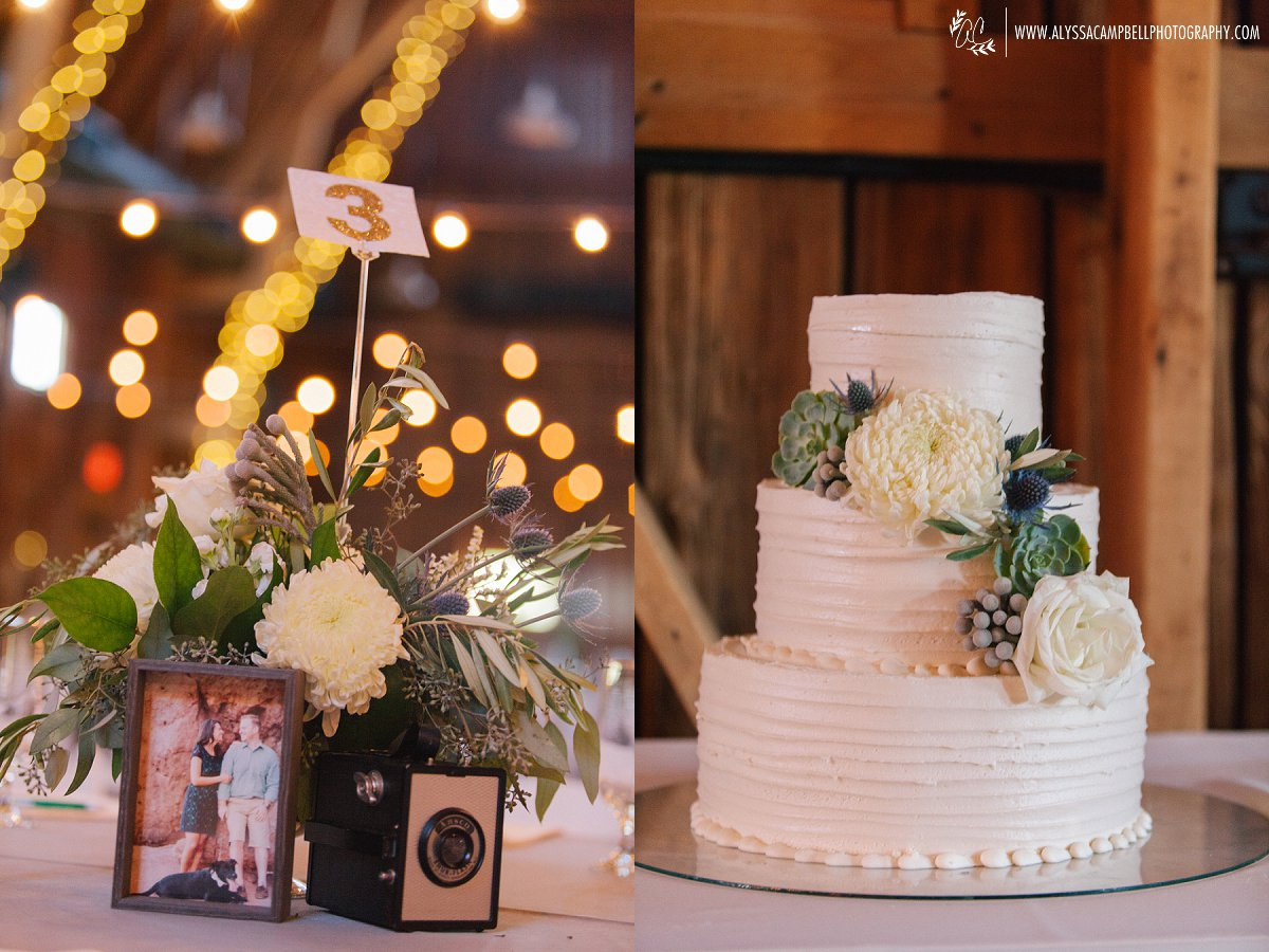 elegant rustic barn reception centerpiece & cake at Windmill Winery Florence AZ by Mesa wedding photographer Alyssa Campbell