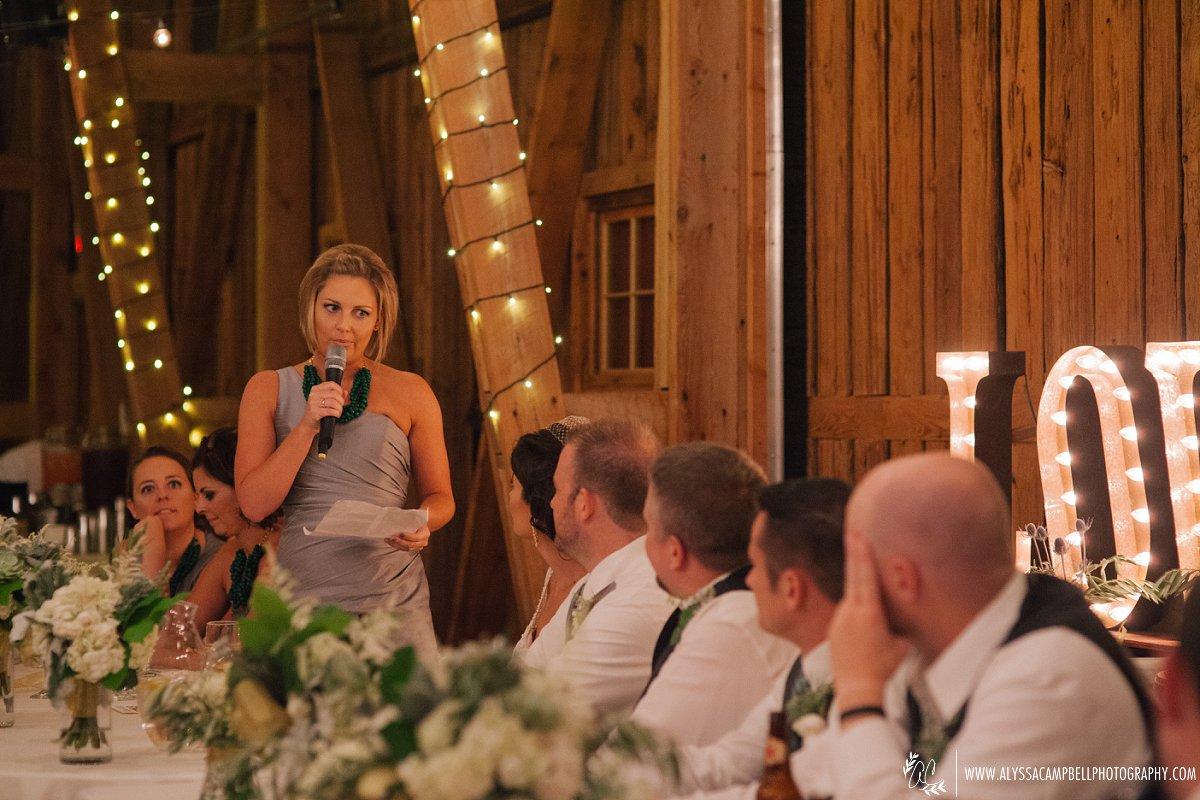 toasts at Windmill Winery barn reception by Mesa wedding photographer Alyssa Campbell
