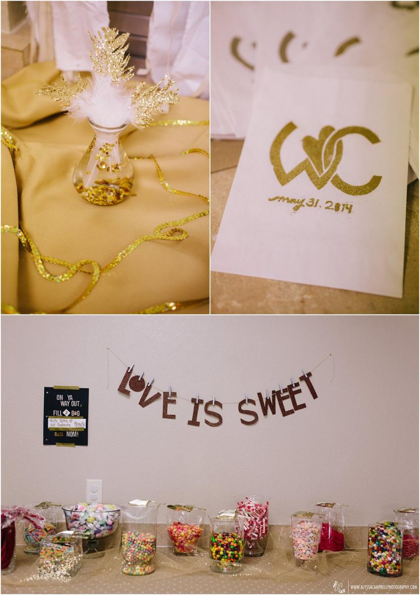 gold glitter dipped feathers & monogrammed candy bags love is sweet candy bar