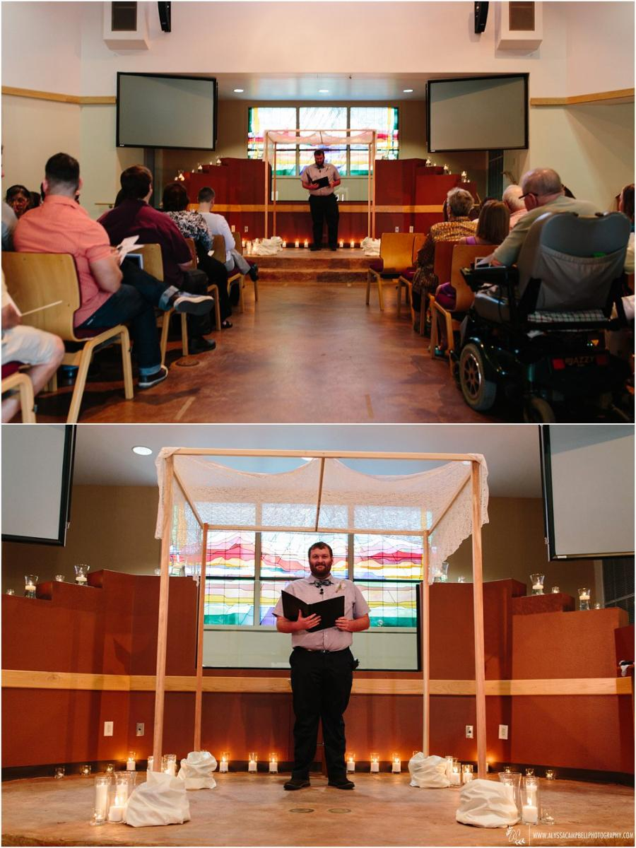 candlelit ceremony at Foothills Christian Church by Arizona gay wedding photographer