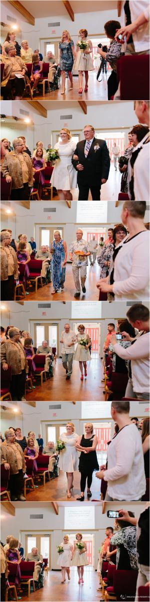 brides walking down aisle with loved ones during same sex Christian wedding ceremony Arizona
