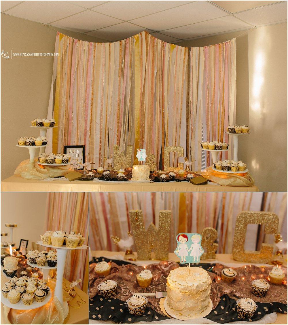 gold & glitter DIY reception at Foothills Christian Church Arizona same sex wedding photographer