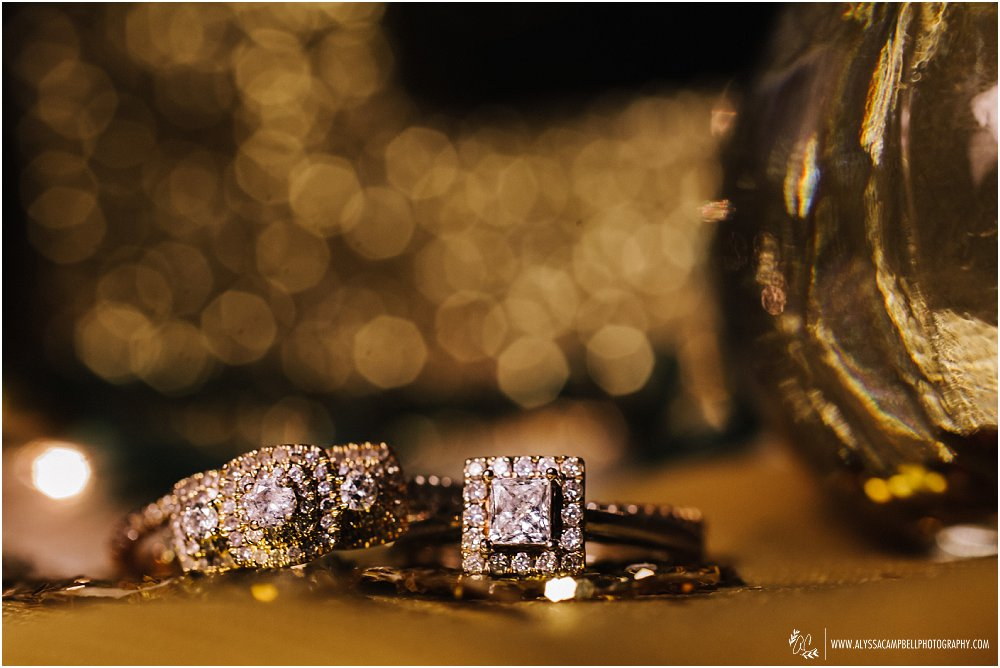 gold glitter two brides' wedding rings rose gold & diamonds