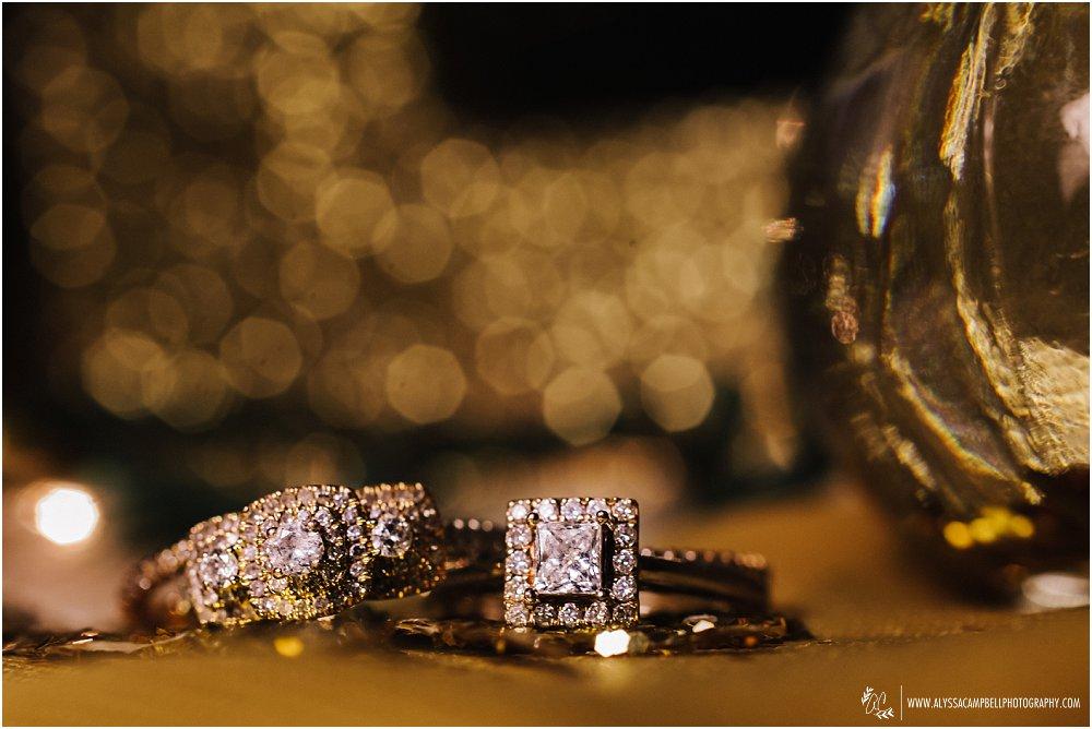 gold glitter two brides' wedding rings rose gold & diamonds
