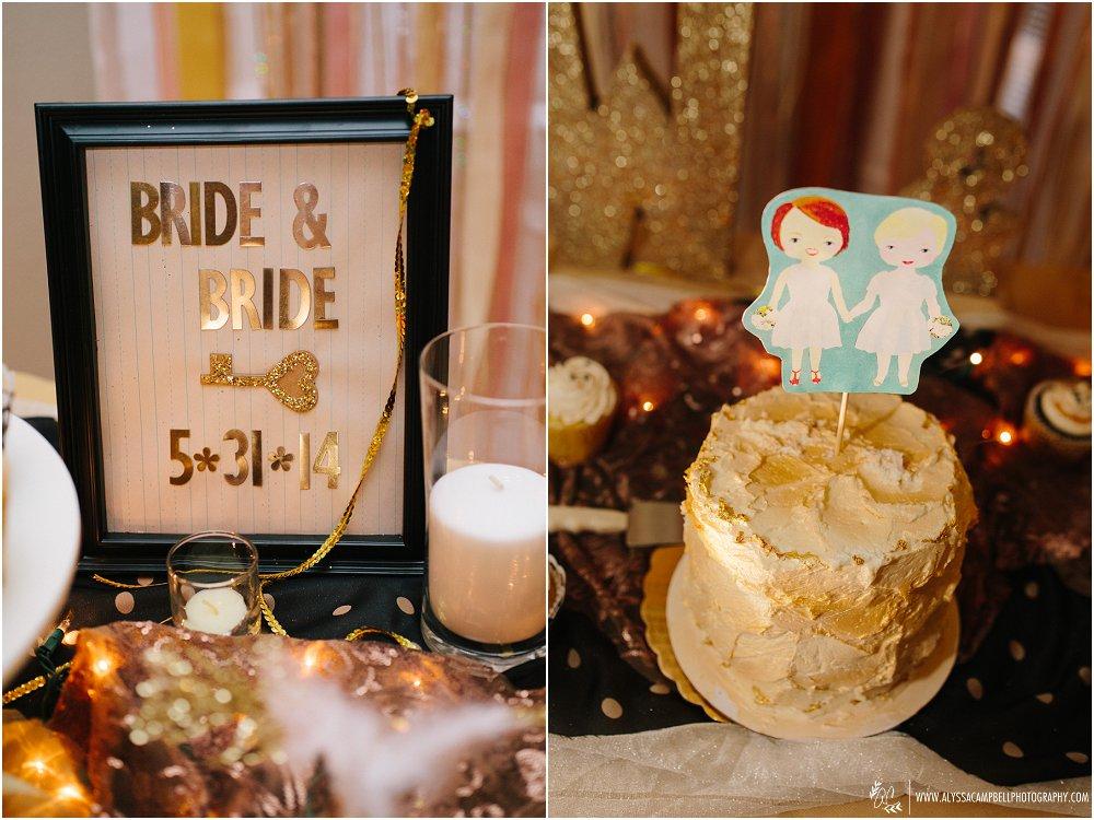 bride & bride cartoon paper cake topper & gold details