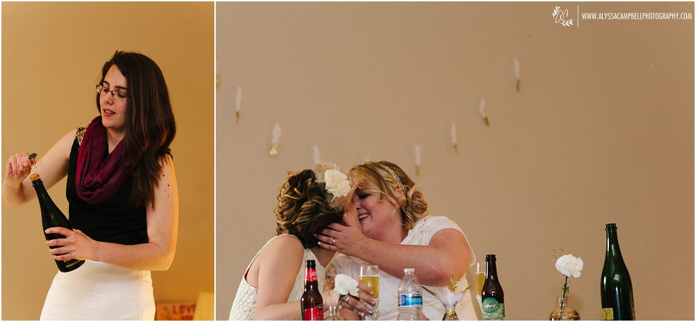 popping the champagne at same sex wedding by Arizona same sex wedding photographer