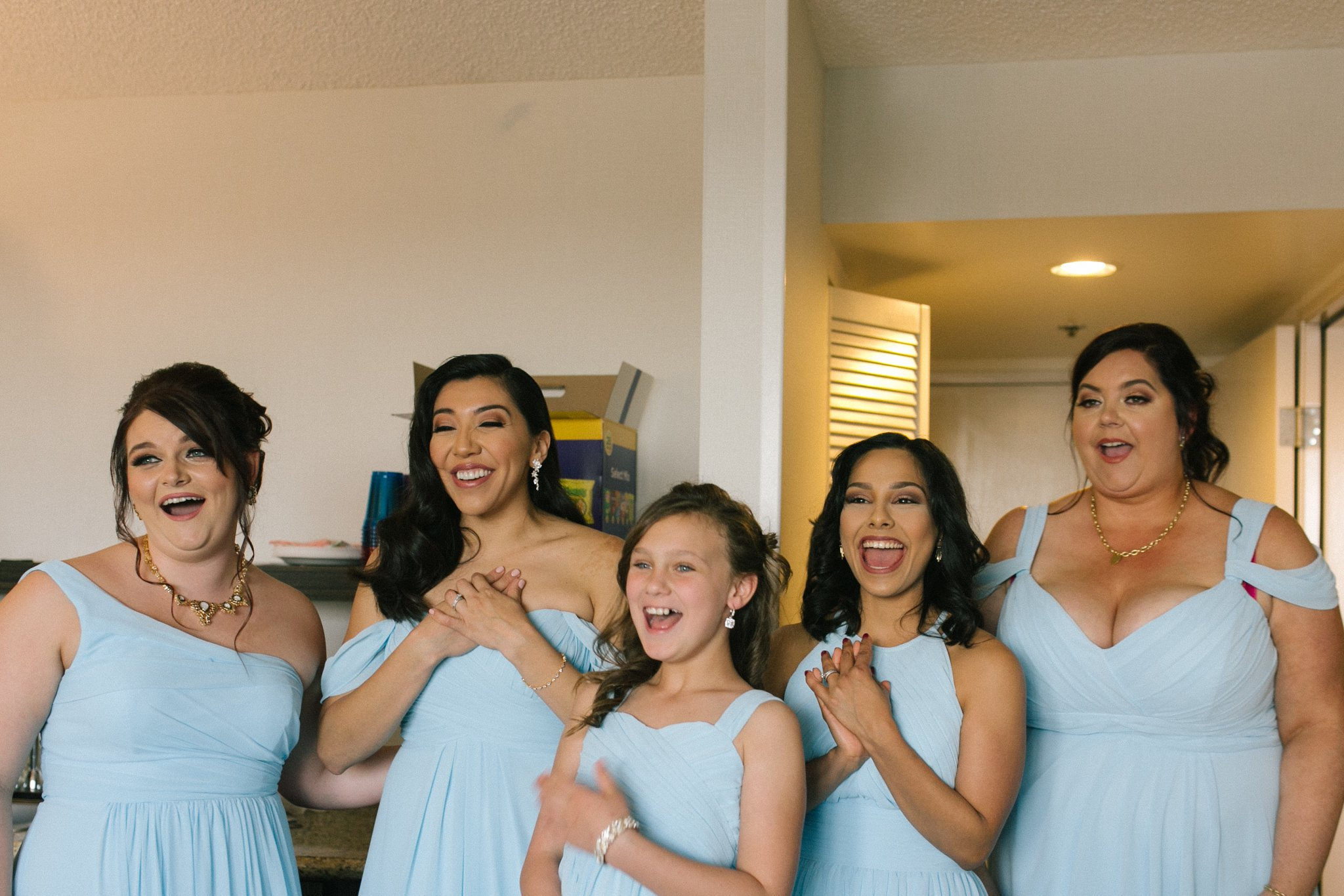 bridesmaids seeing bride for first time Crowne Plaza Marriott Phoenix hotel