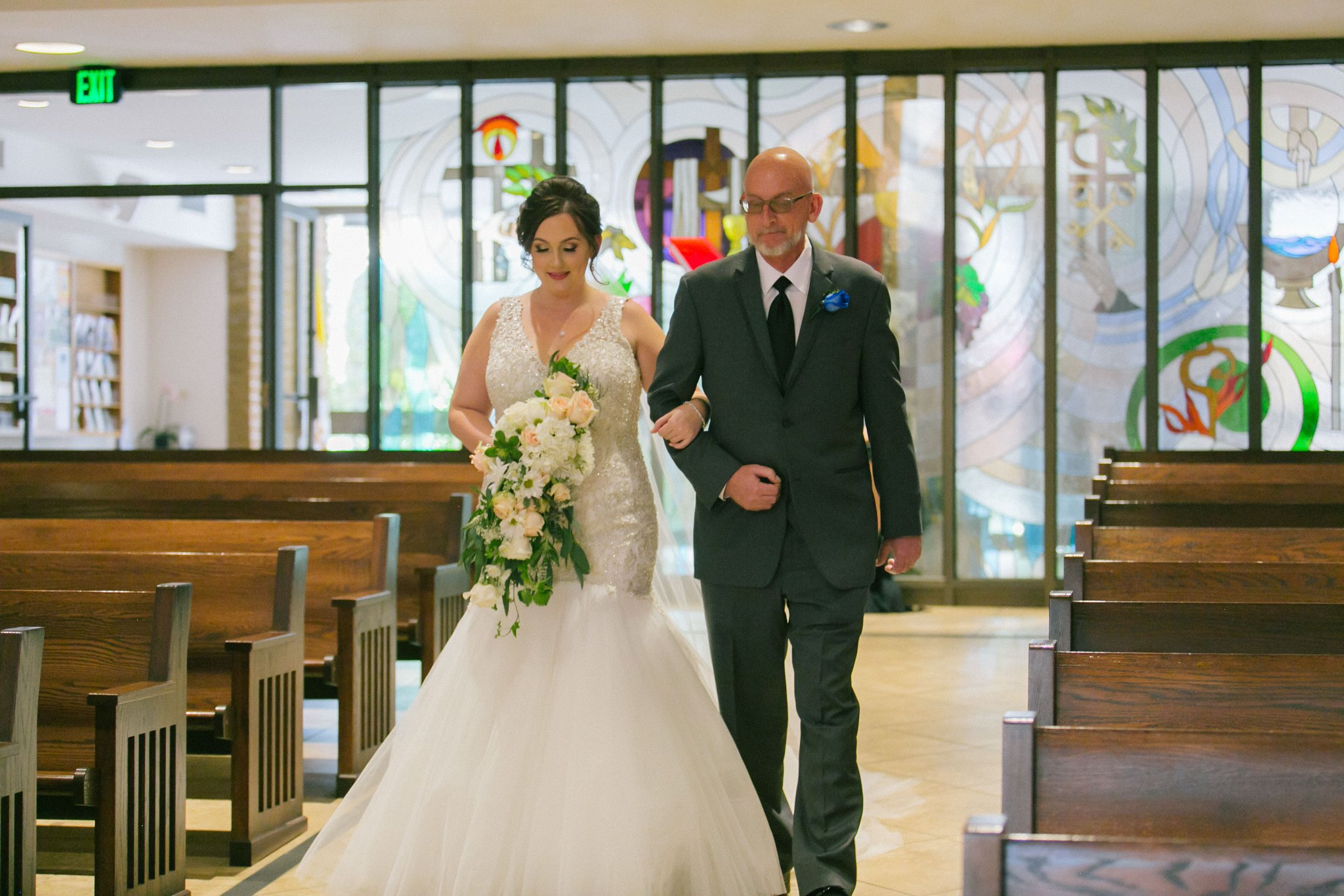 St Teresa Parish Phoenix bride walking down aisle