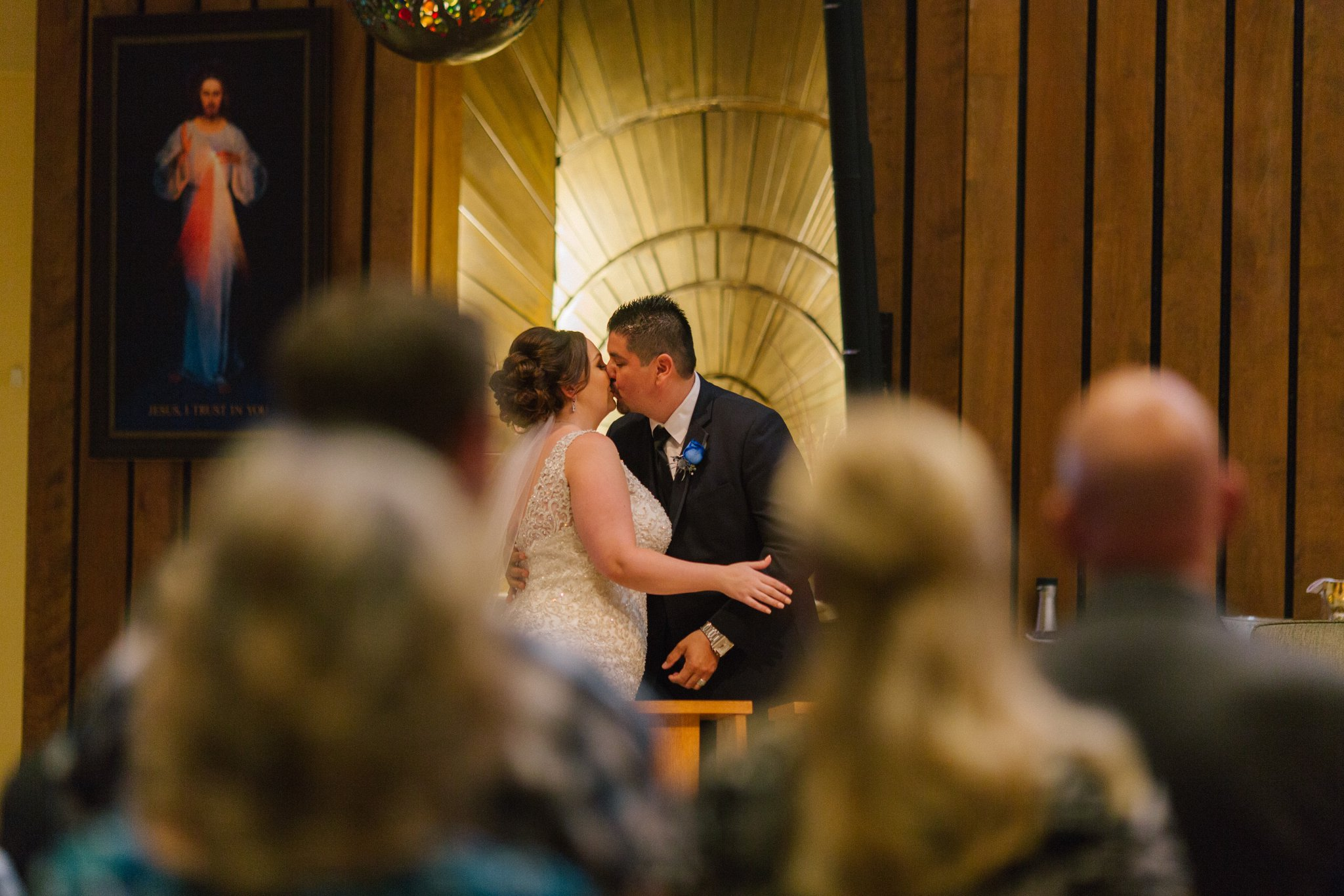 bride groom first kiss St Teresa's Parish Phoenix