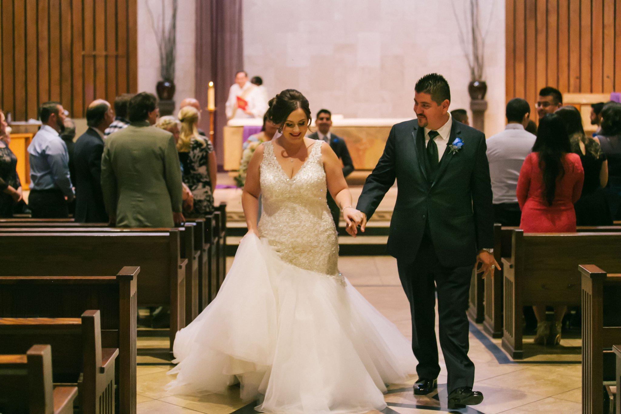 bride & groom at St Teresa Parish