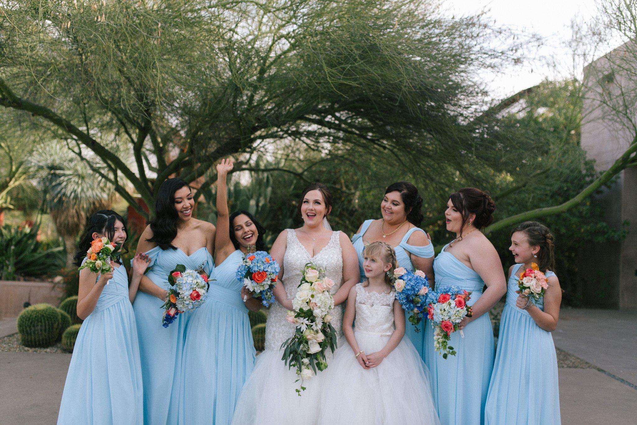 genuine natural wedding party photos Desert Botanical Gardens