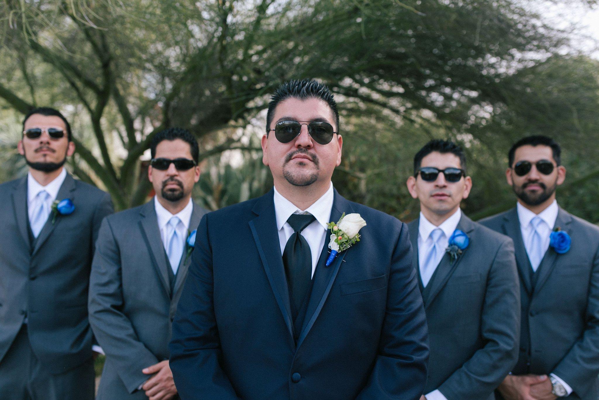 groomsmen photos in sunglasses Desert Botanical Gardens