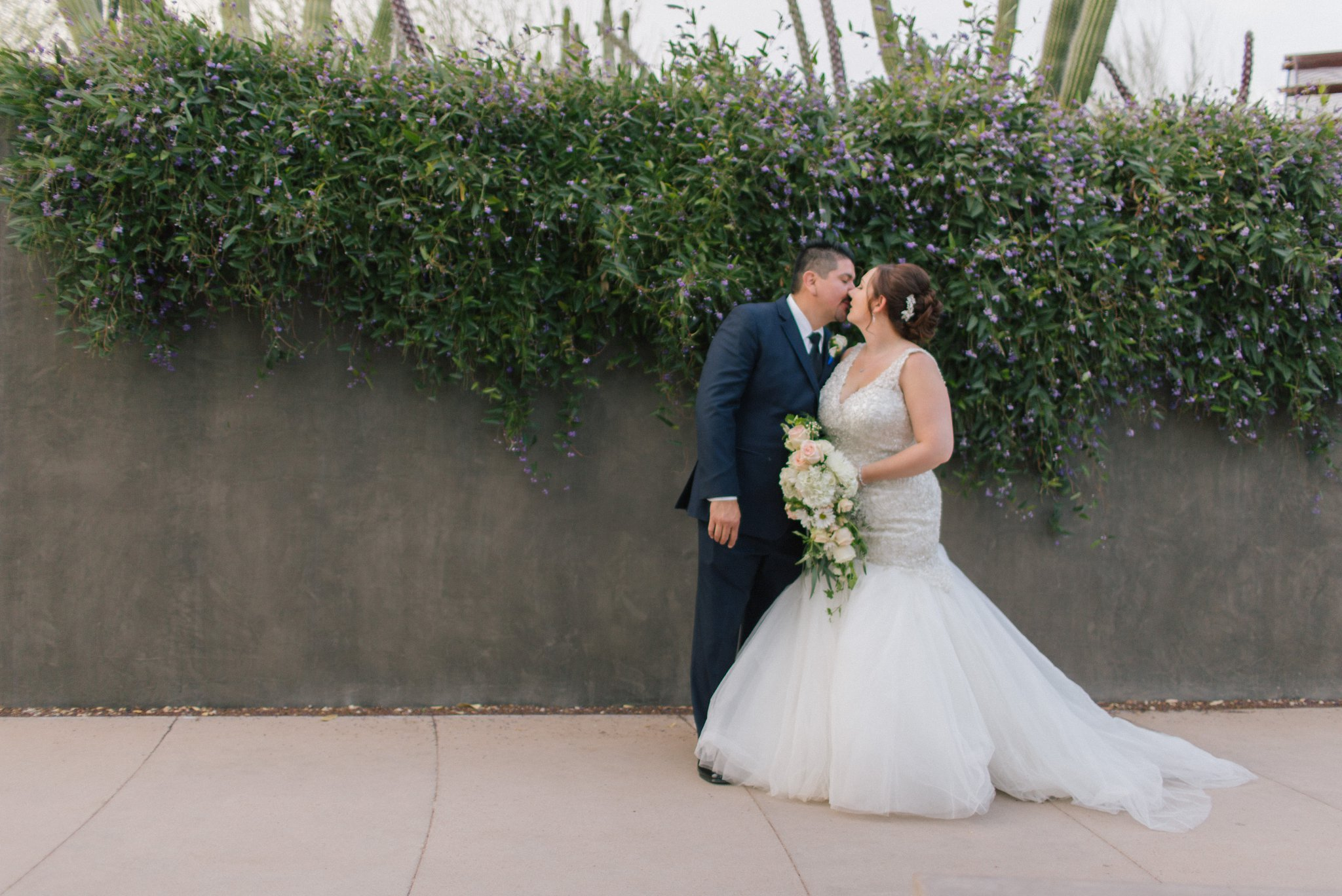Desert Botanical Garden wedding bride & groom