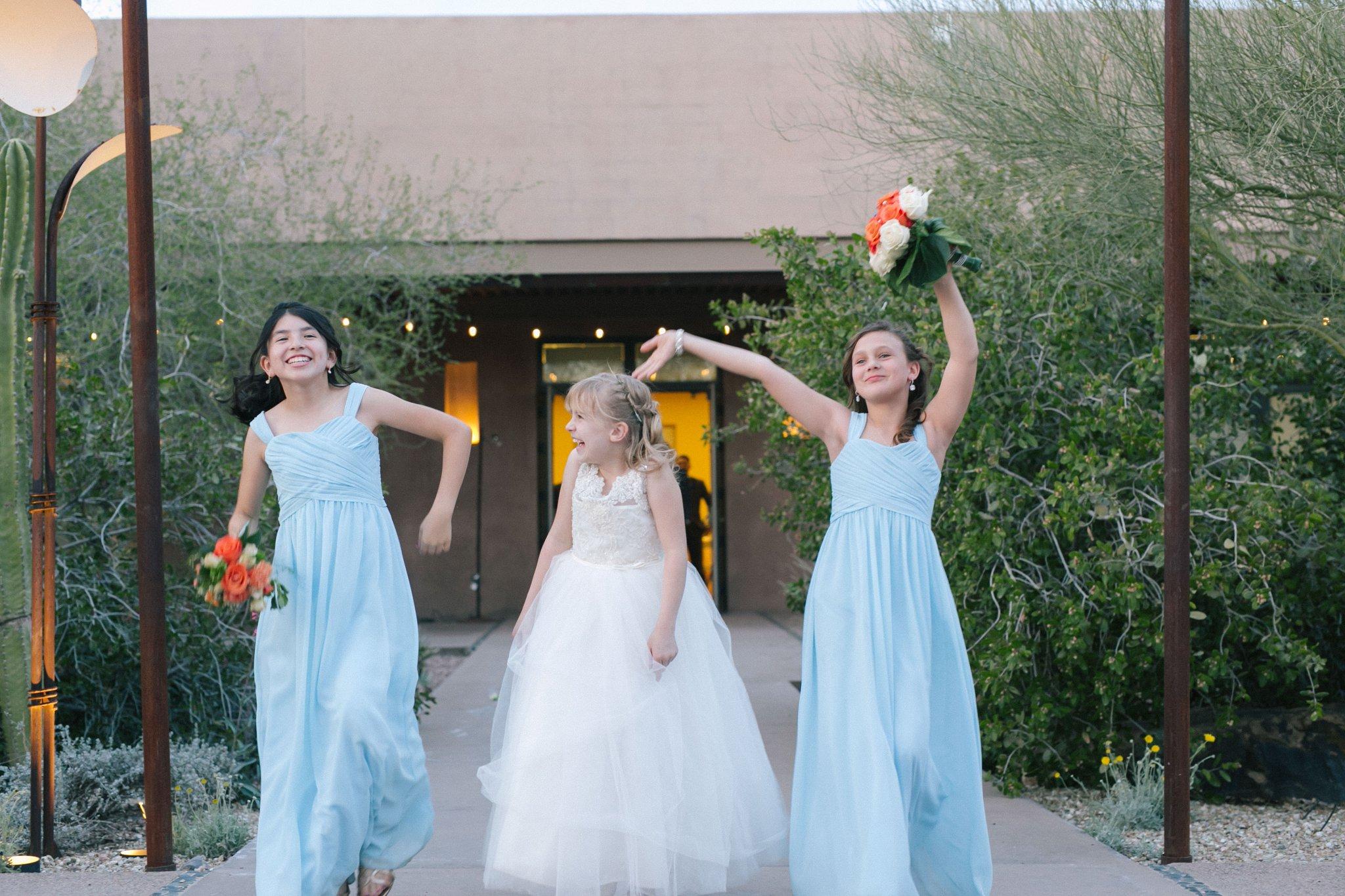 Desert Botanical Garden outdoor reception grand entrance flower girls