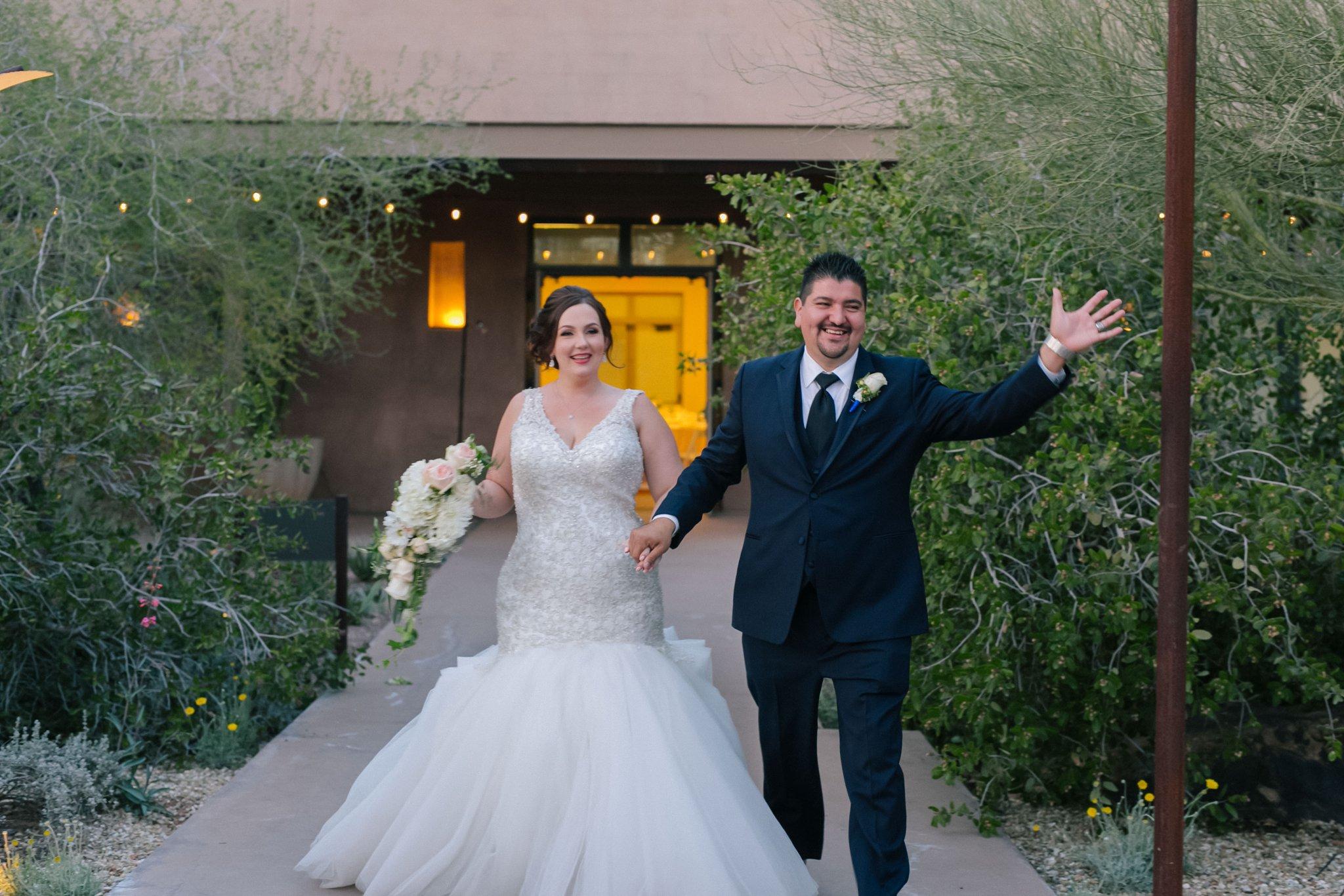 Desert Botanical Garden outdoor reception grand entrance bride & groom
