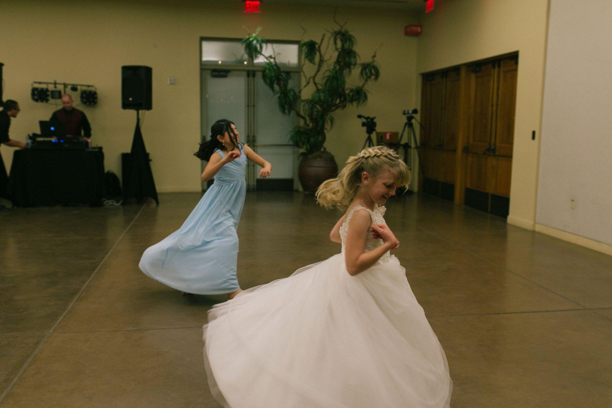 Desert Botanical Gardens wedding reception flower girls dancing documentary wedding photographer