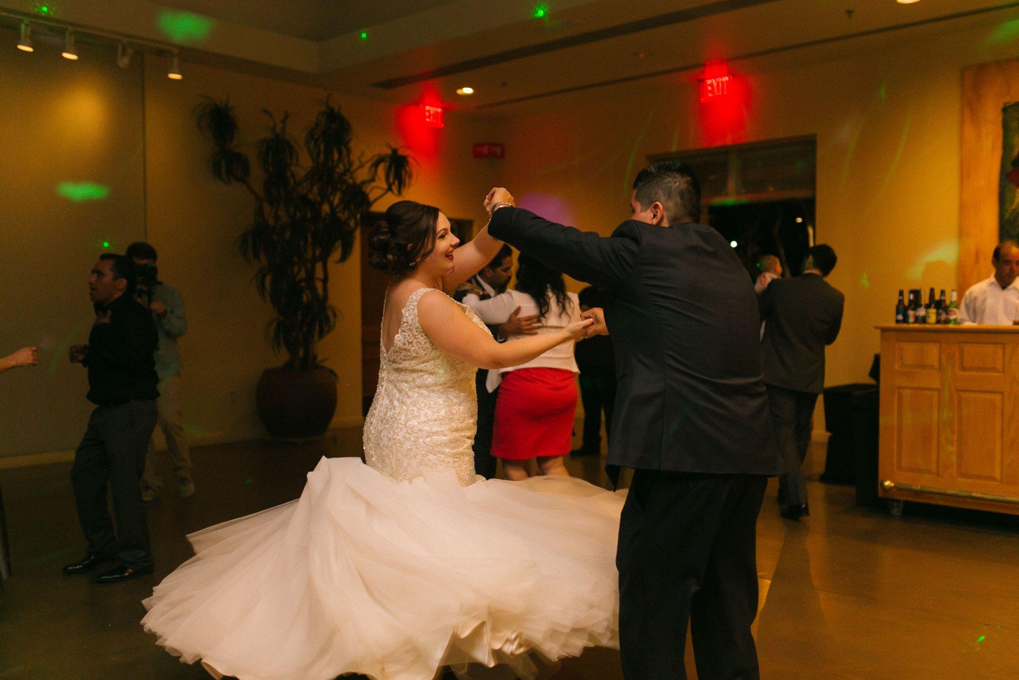 Desert Botanical Gardens reception bride and groom dancing