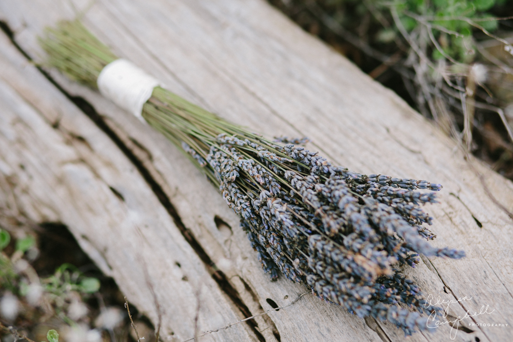 dried lavender bouquet rustic outdoor wedding