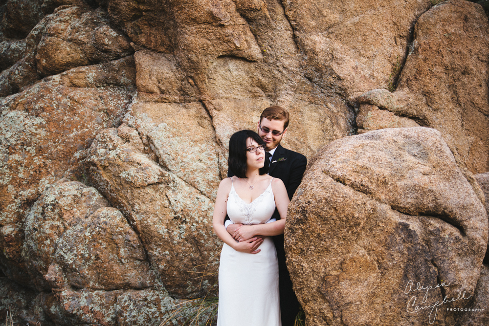 bride and groom romantic day after portraits at Watson Lake Prescott AZ