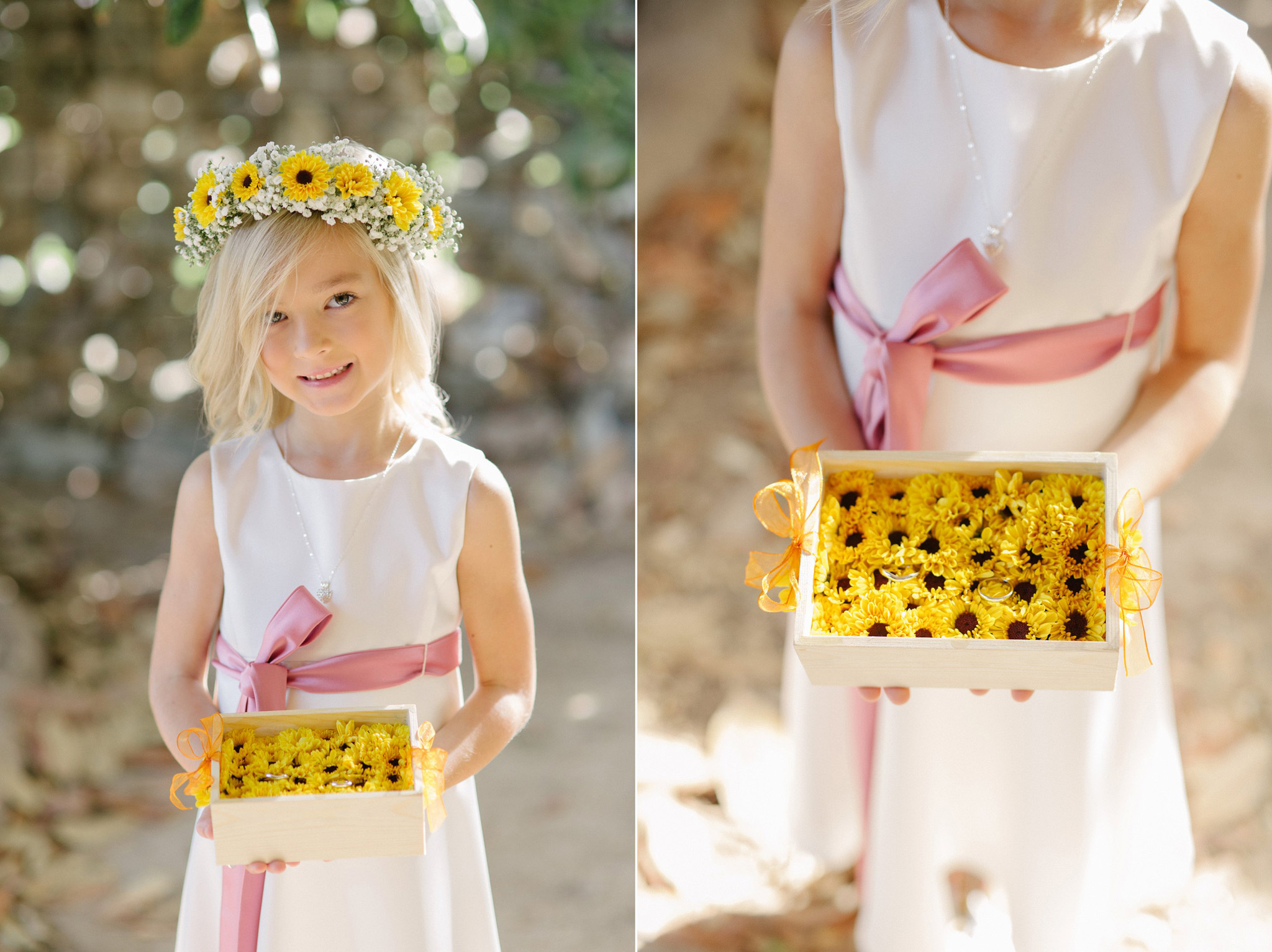 cute flower girl with sunflower crown and ring box at farm at South Mountain