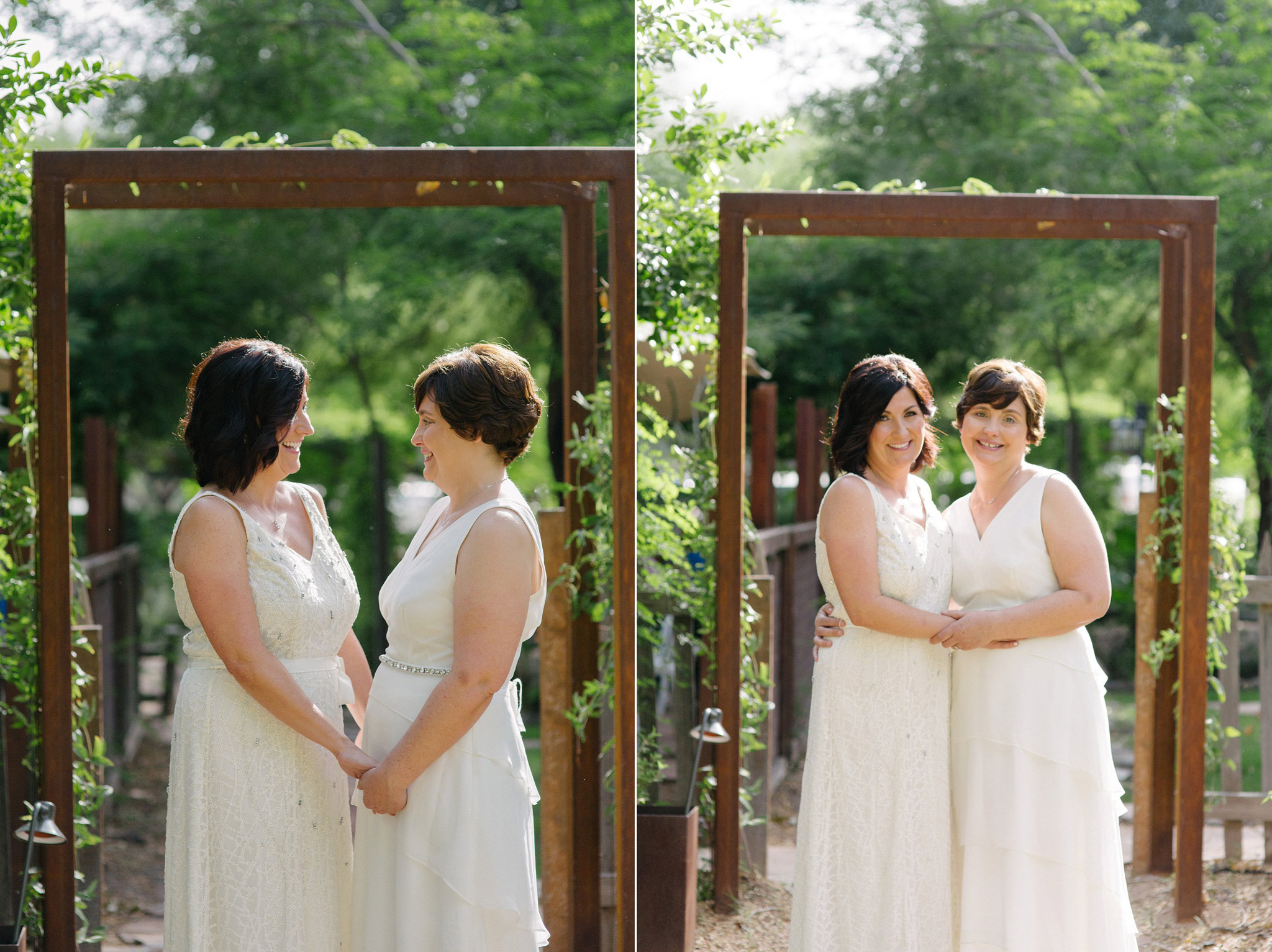 two older brides in white dresses at the Farm at South Mountain