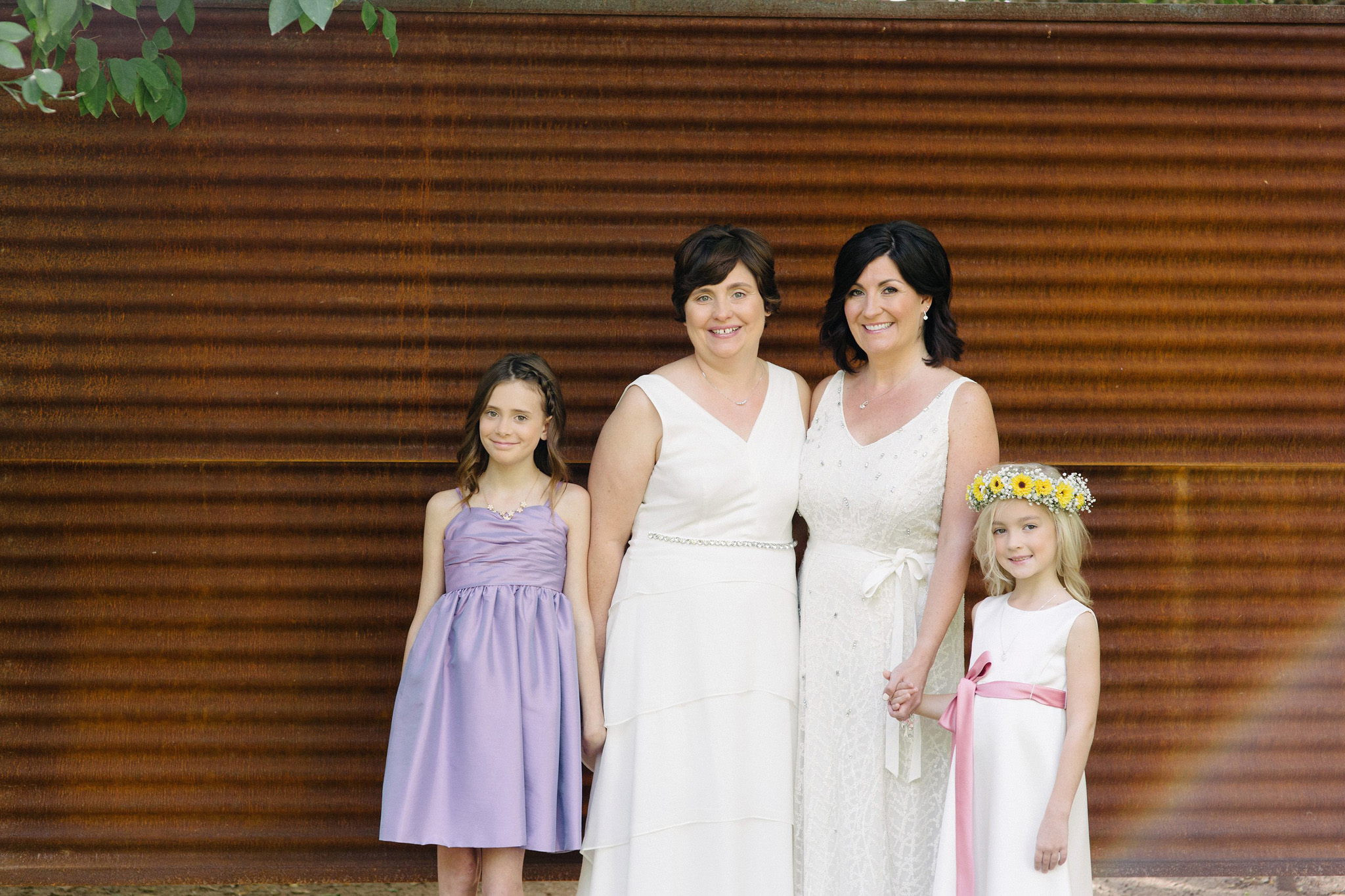 LGBT wedding two brides and daughters at Farm at South Mountain