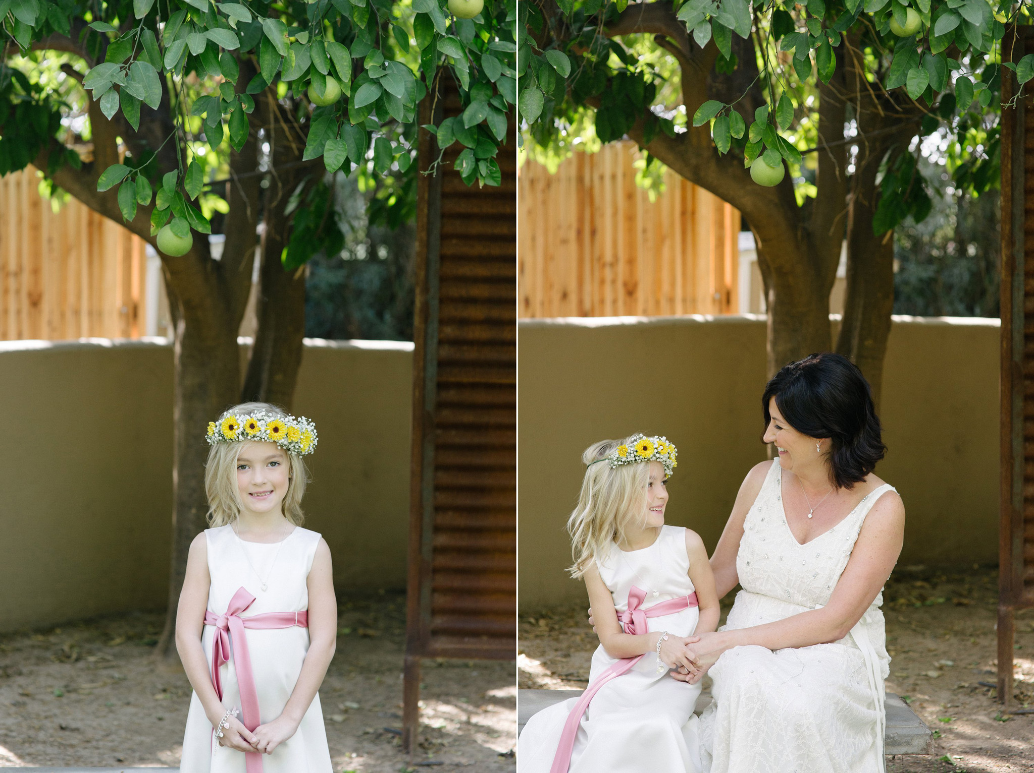 bride with daughter gay wedding Farm at South Mountain