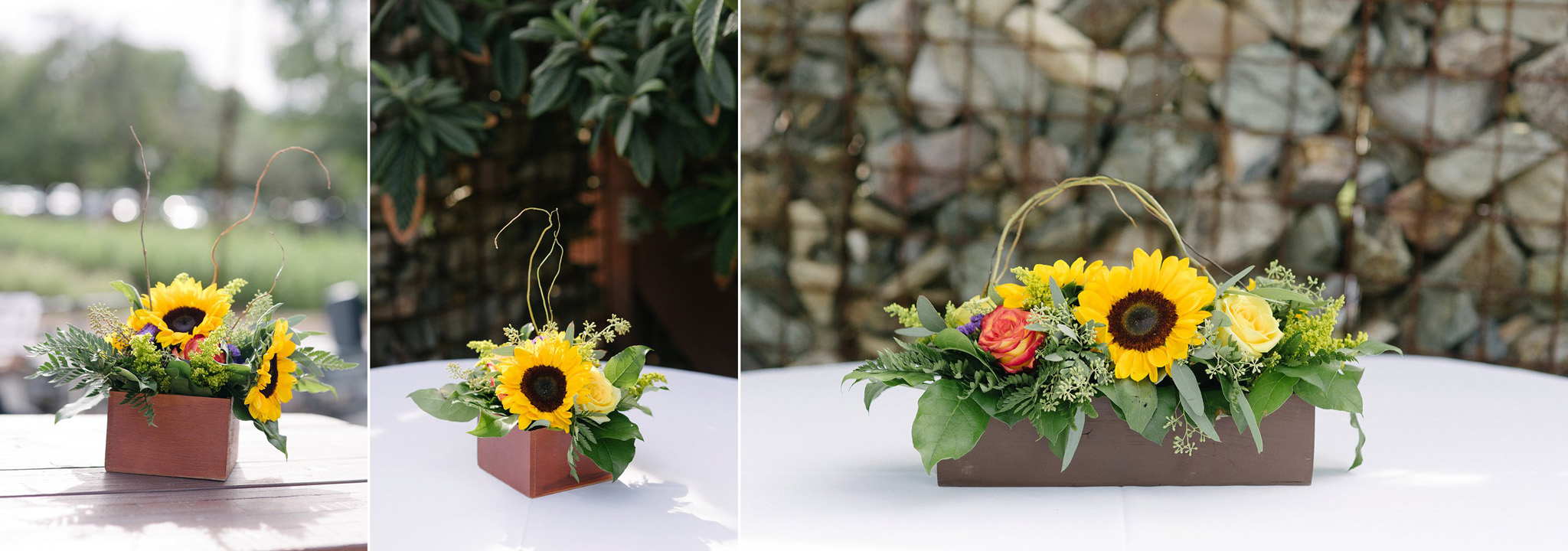 sunflower centerpieces at Farm at South Mountain