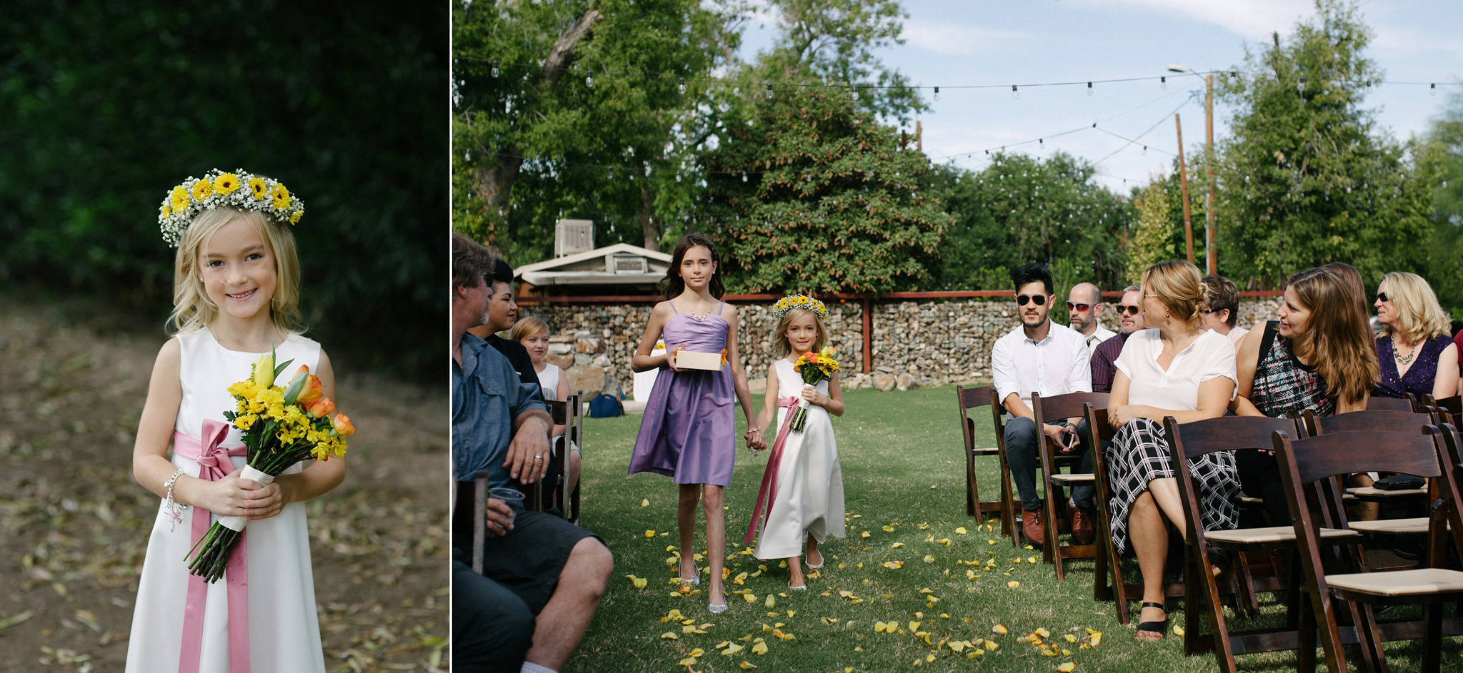 flower girls walking down aisle at Stone Grove Farm at South Mountain Phoenix