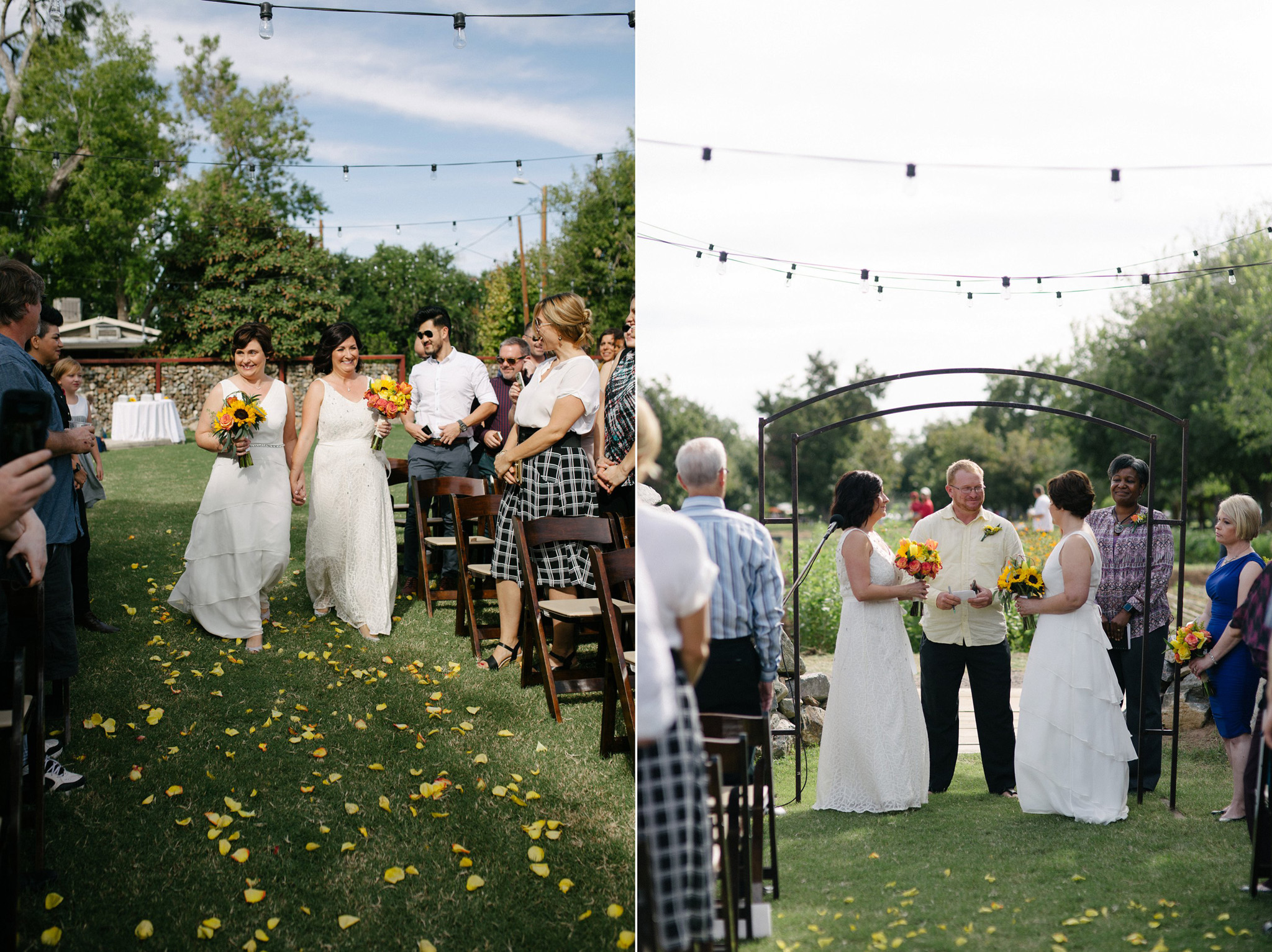 gay morning wedding at Farm at South Mountain two brides
