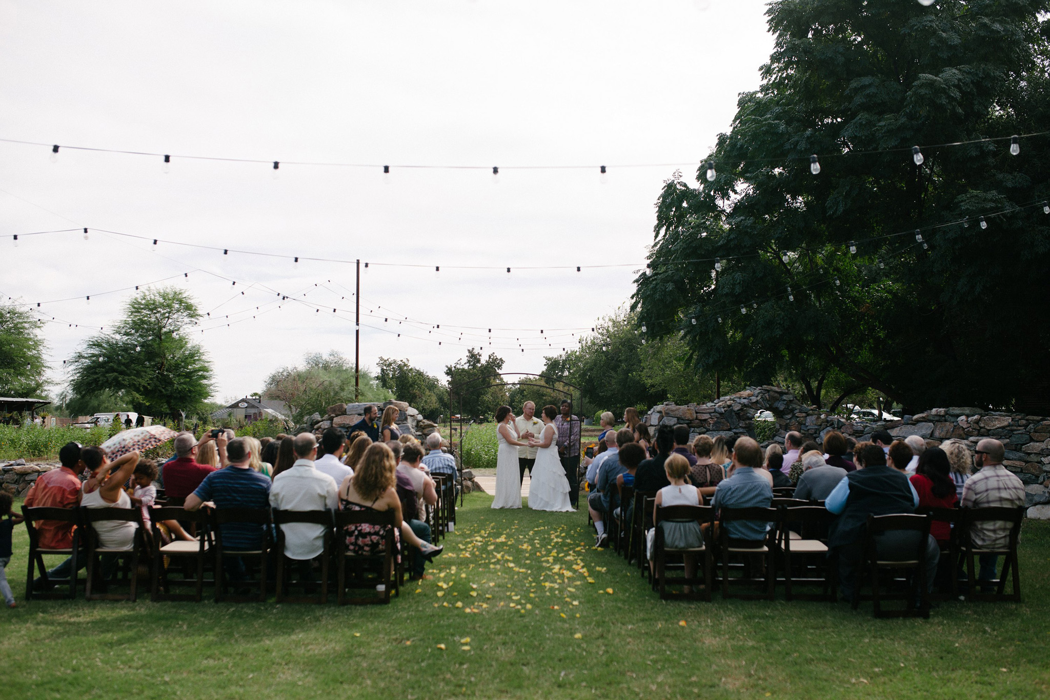 morning wedding ceremony at Stone Grove at Farm at South Mountain LGBT friendly