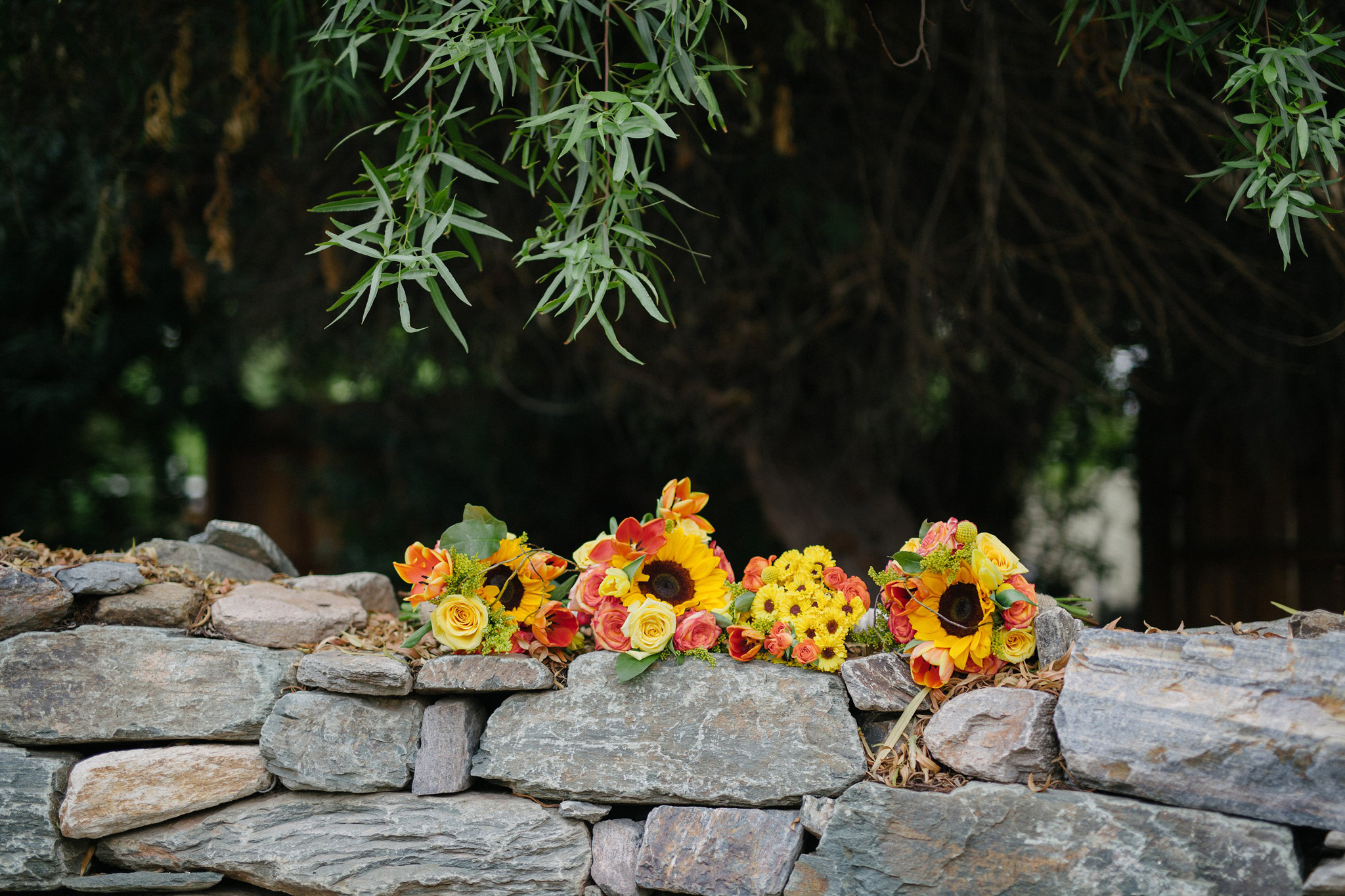 bright bouquets with sunflowers Farm at South Mountain wedding