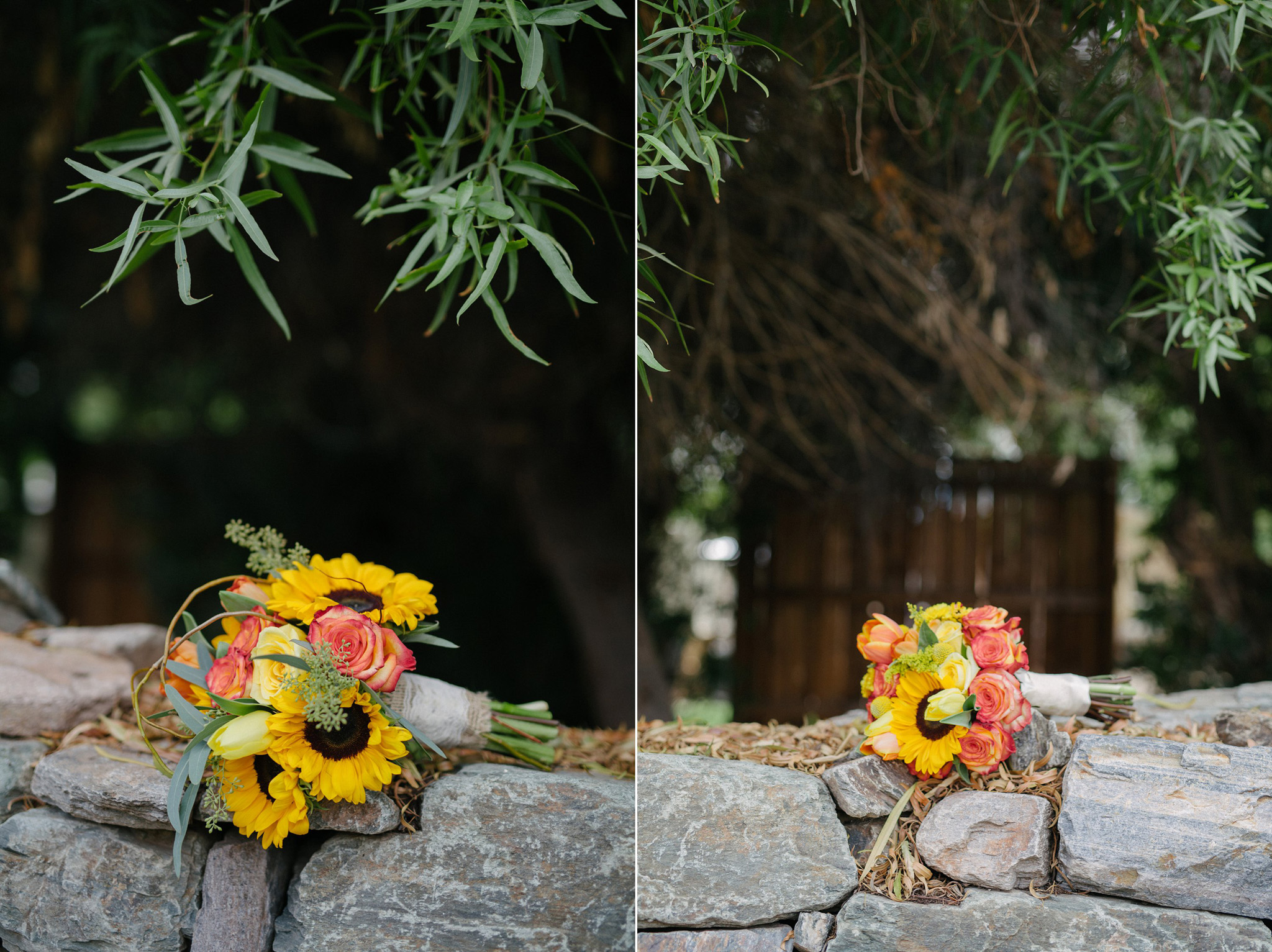 two brides' bouquets Farm at South Mountain with bright colors and sunflowers