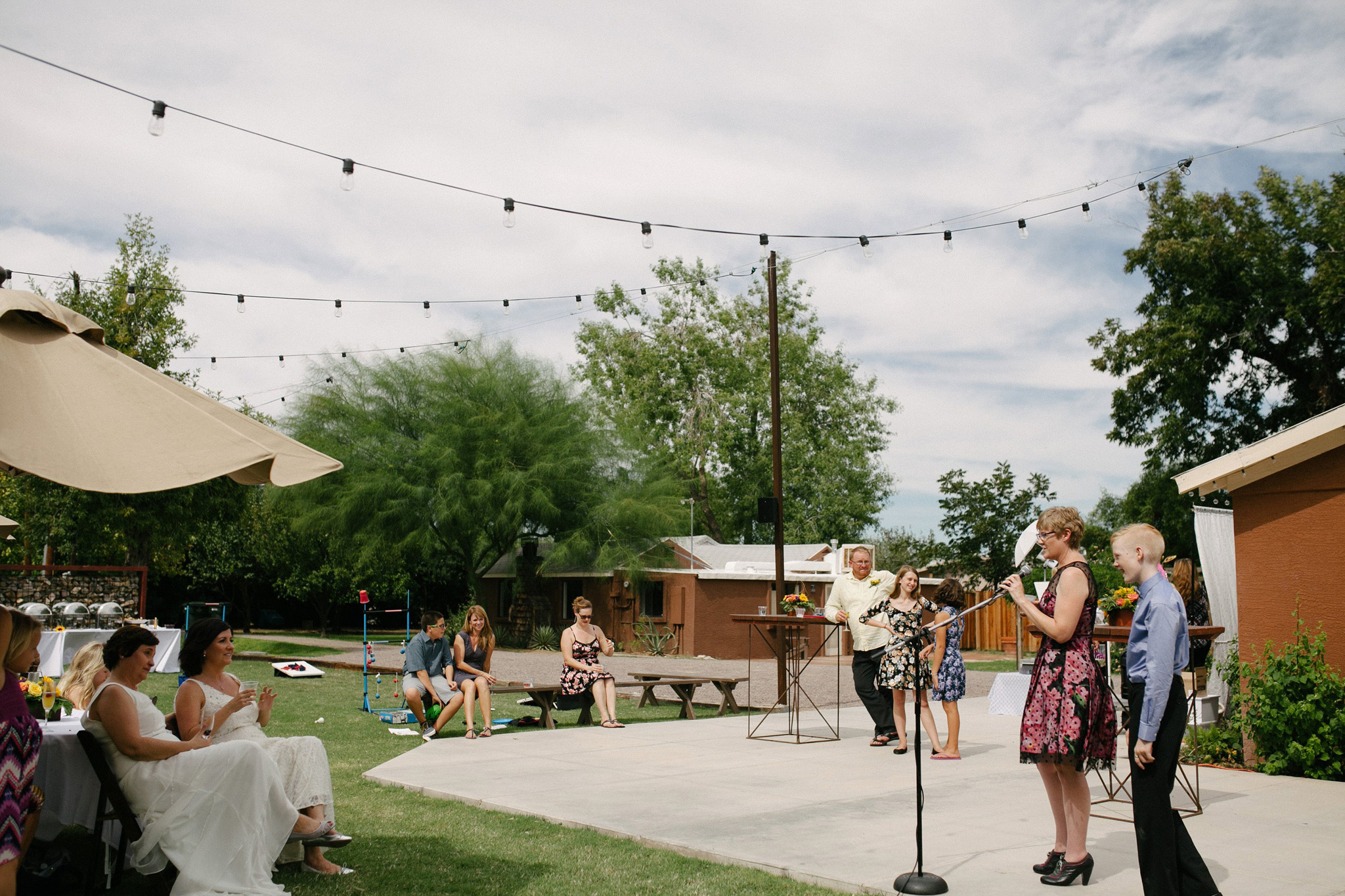 morning wedding toasts Farm at South Mountain wedding