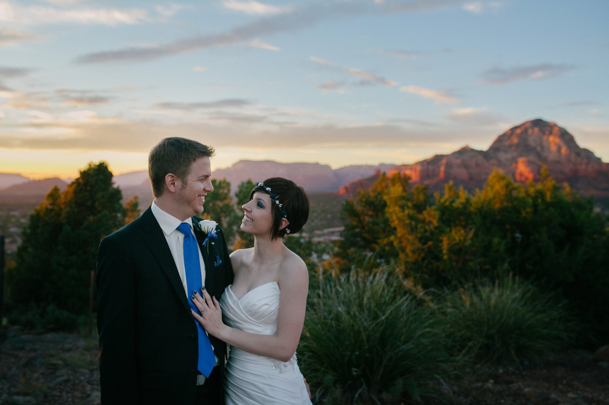 bride & groom eloping in Sedona red rocks at Sunset
