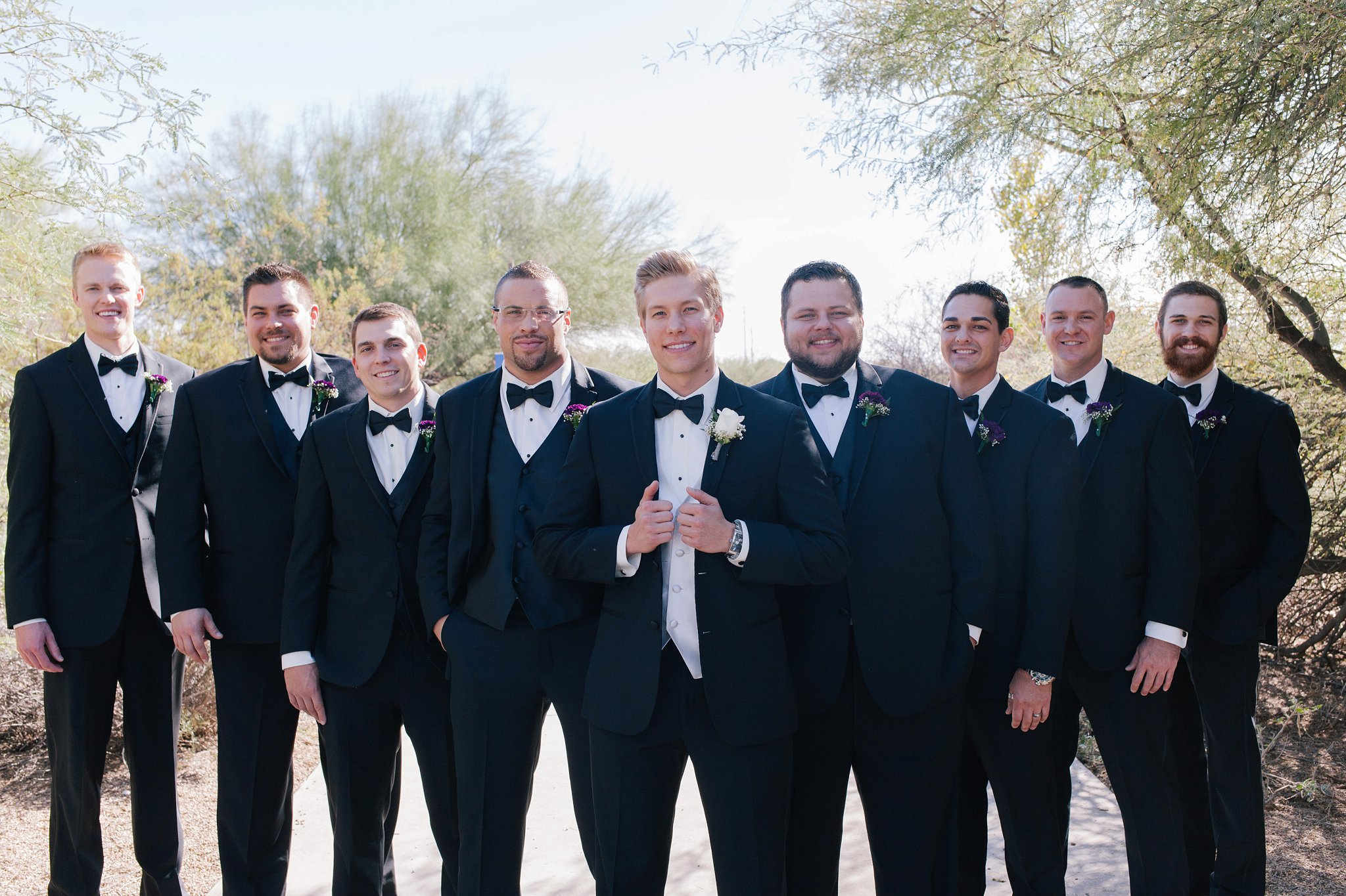 groomsmen & groom at gilbert riparian preserve