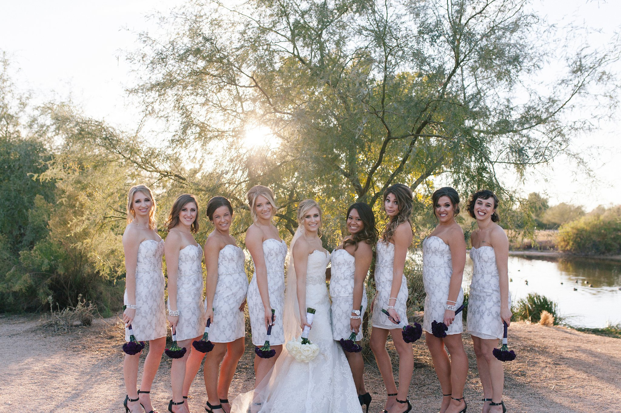 bridal party in all white Mesa wedding photos