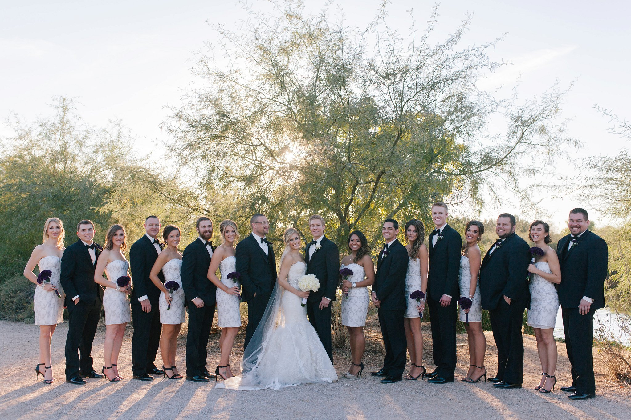 classic white & black wedding party at Gilbert Riparian Preserve in Mesa