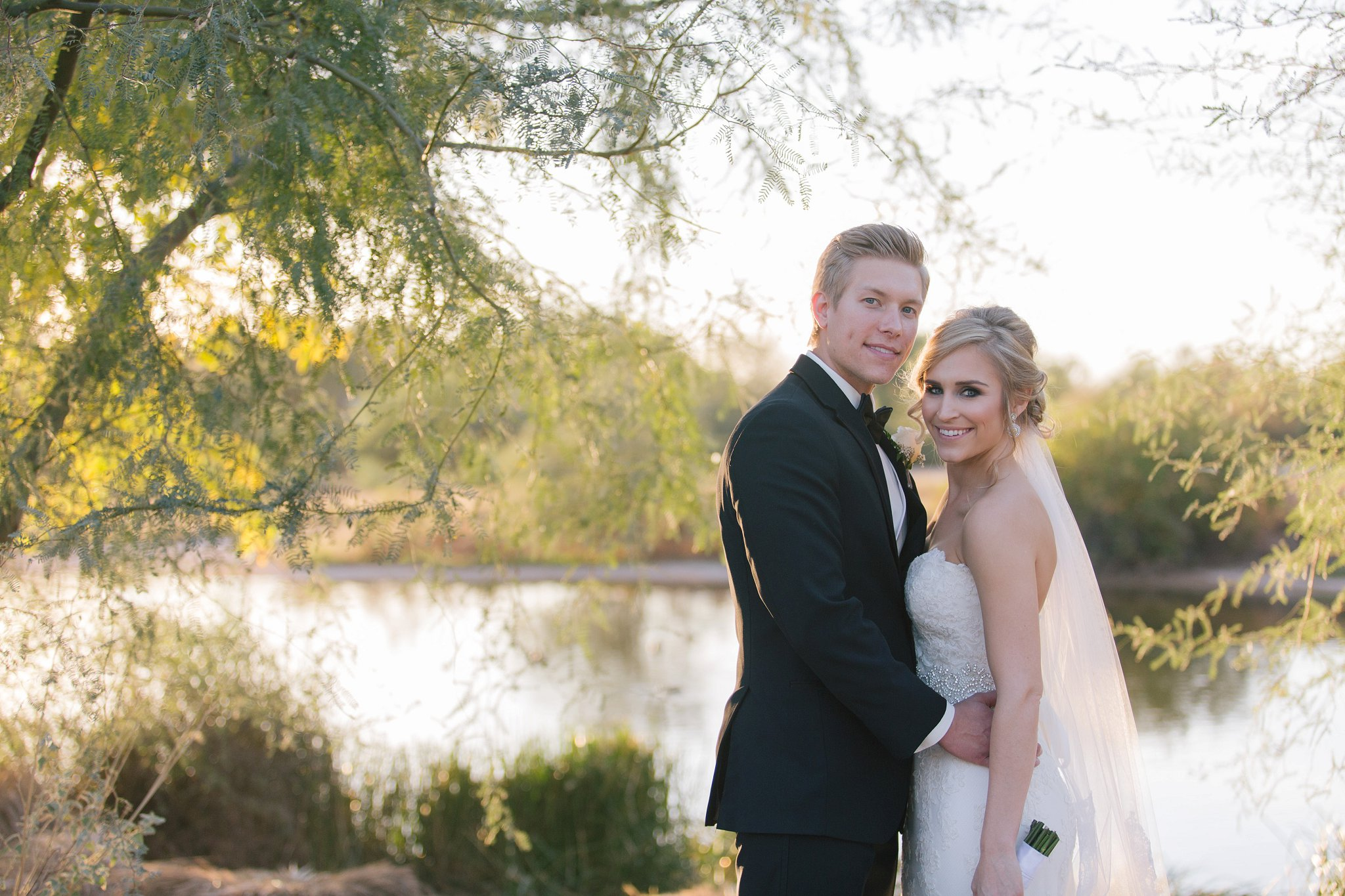 bride & groom at Gilbert Riparian preserve Mesa