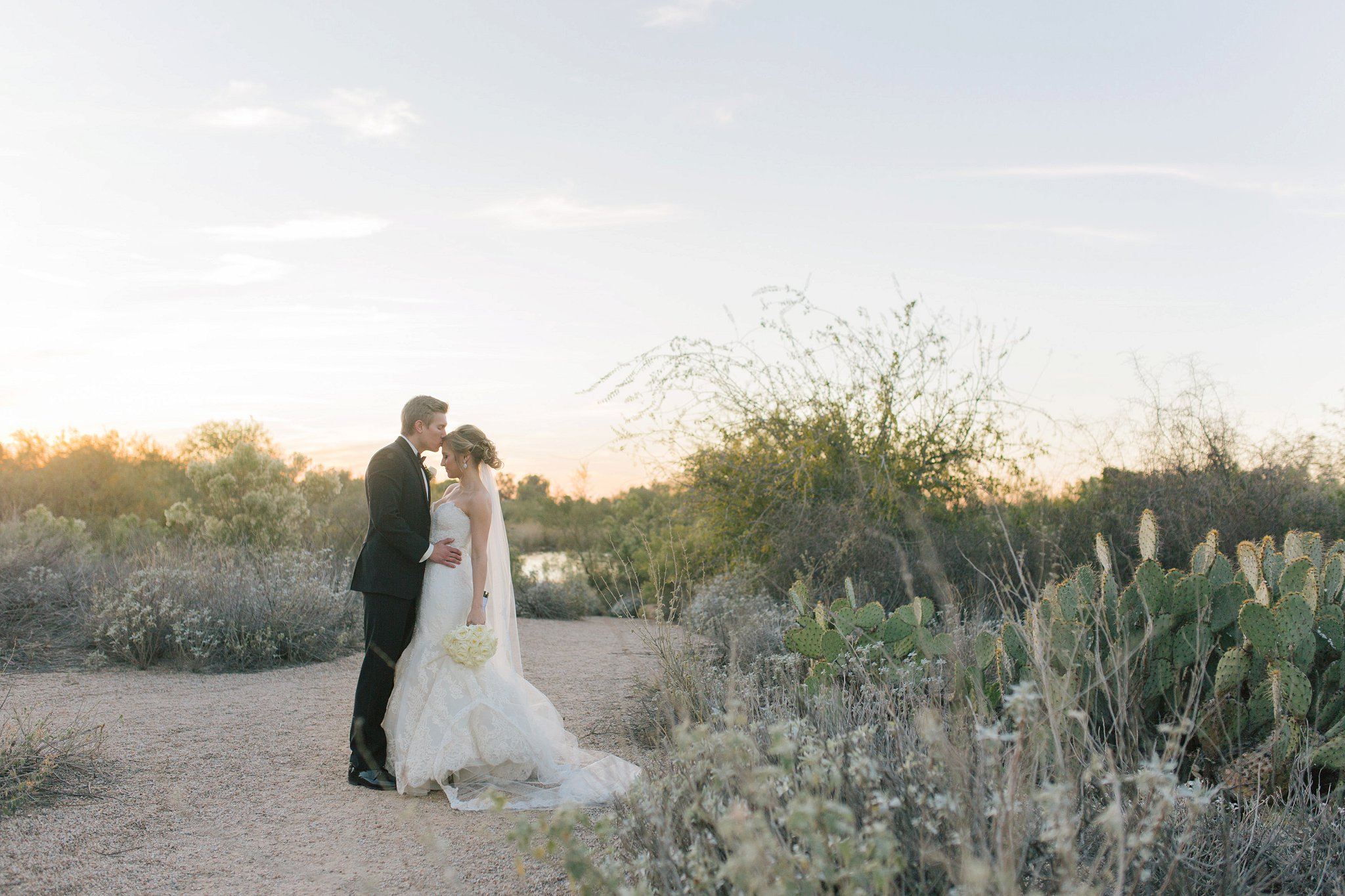 bride & groom at sunset at Gilbert Riparian Preserve