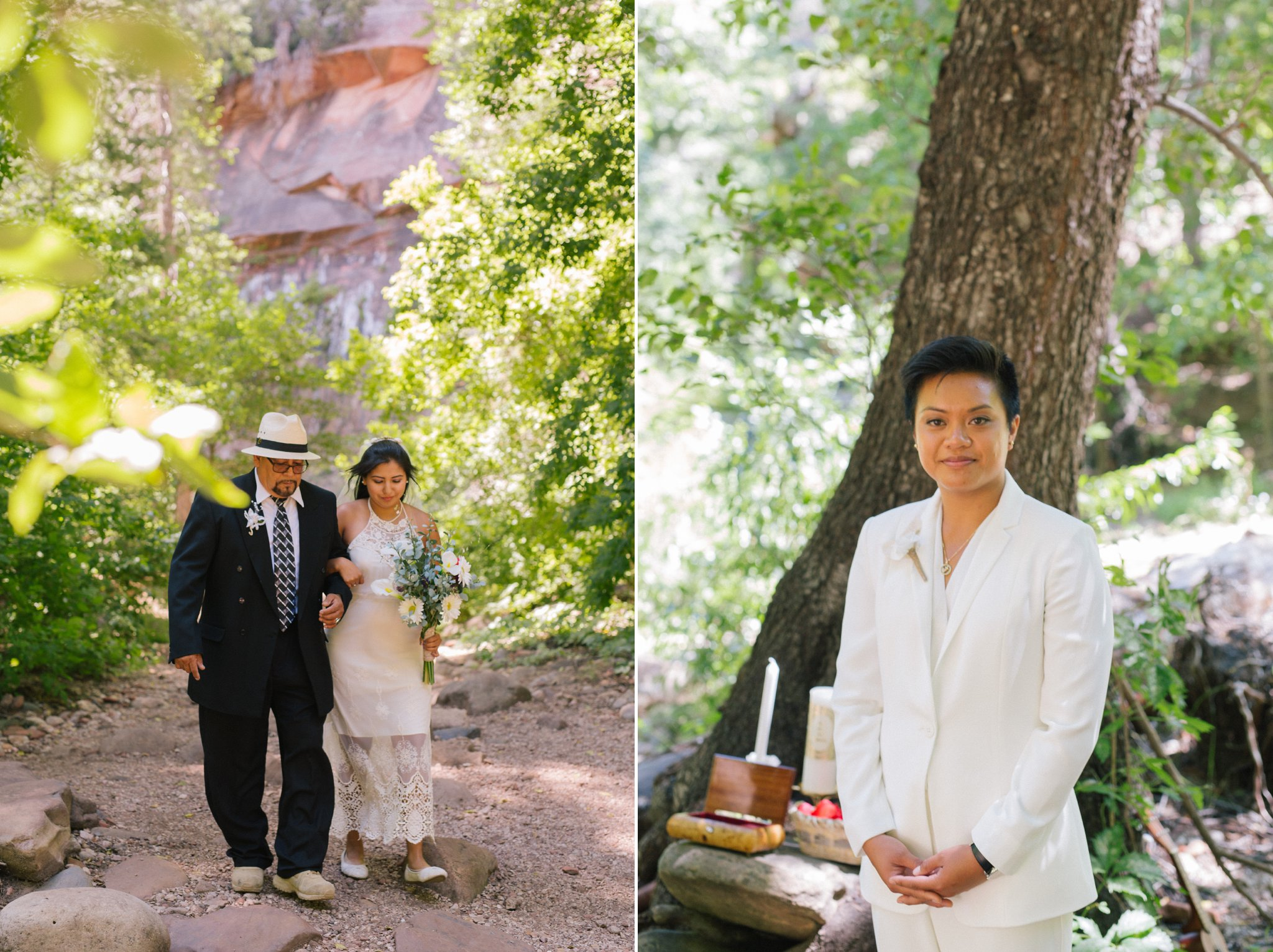 two brides LGBT Sedona elopement at West Fork Trail