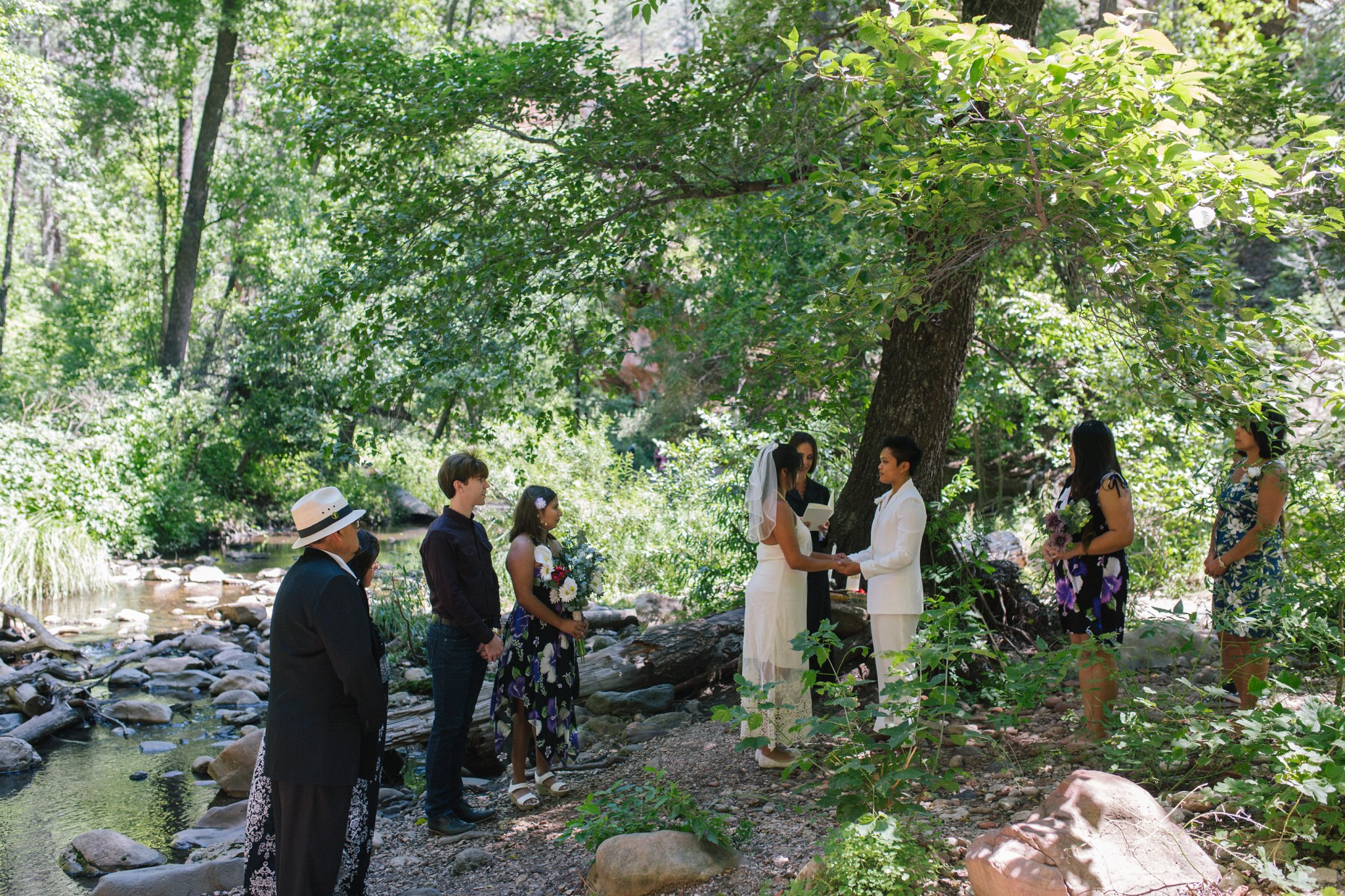 two brides LGBT West Fork Trail Sedona elopement
