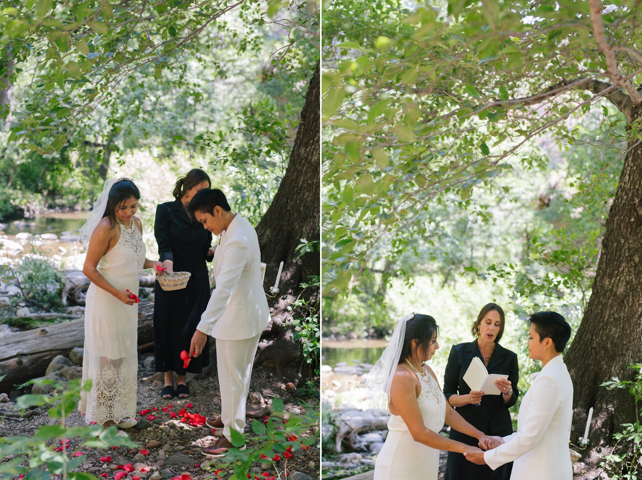 two brides Sedona elopement ceremony with petal circle