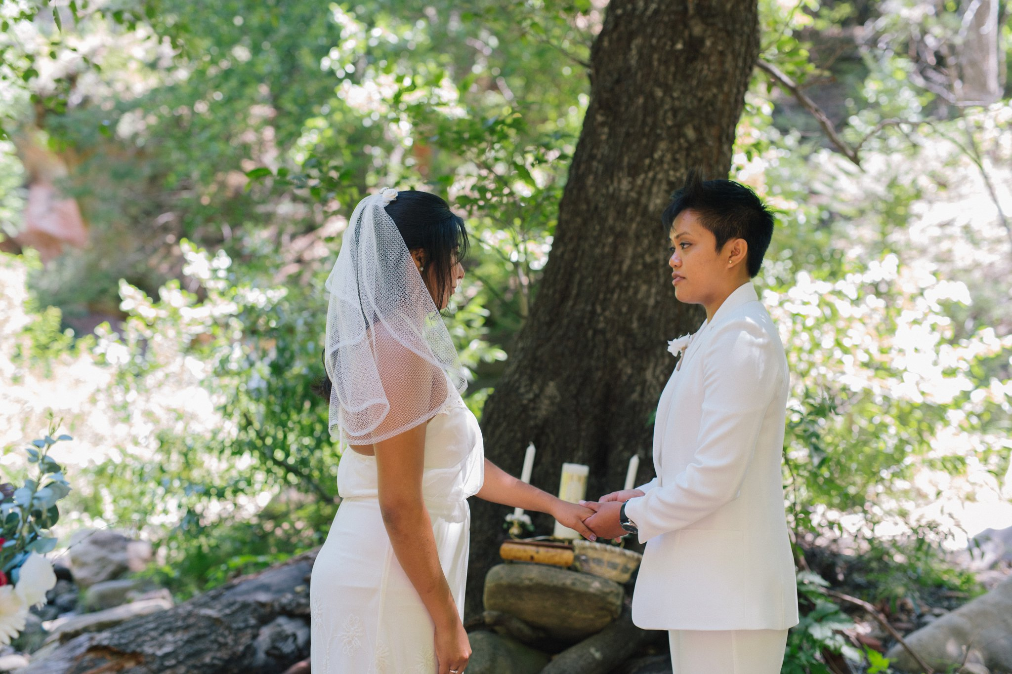 two brides Sedona elopement ceremony at West Fork Trail