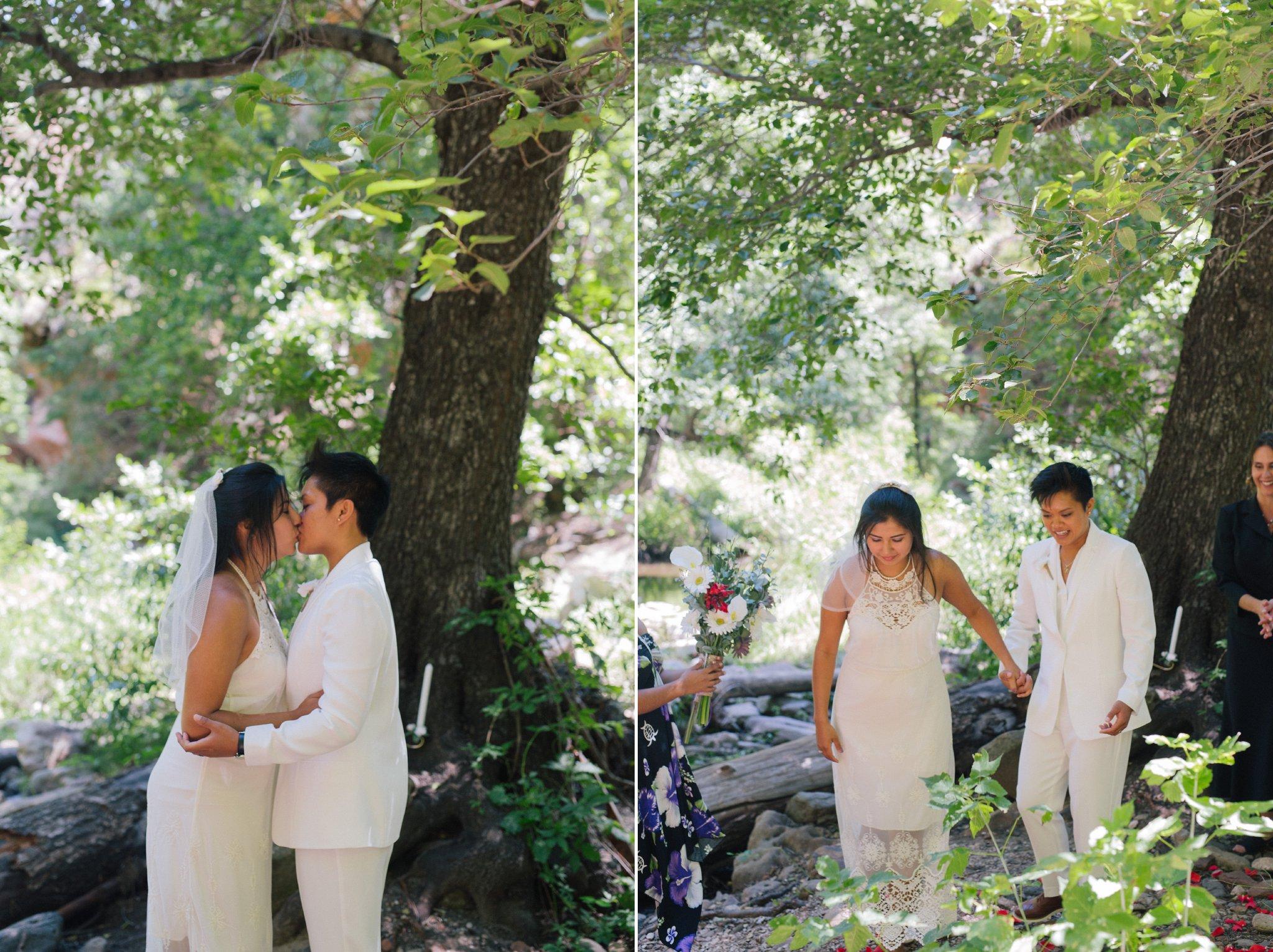 LGBT elopement wedding at West Fork Trail Seonda