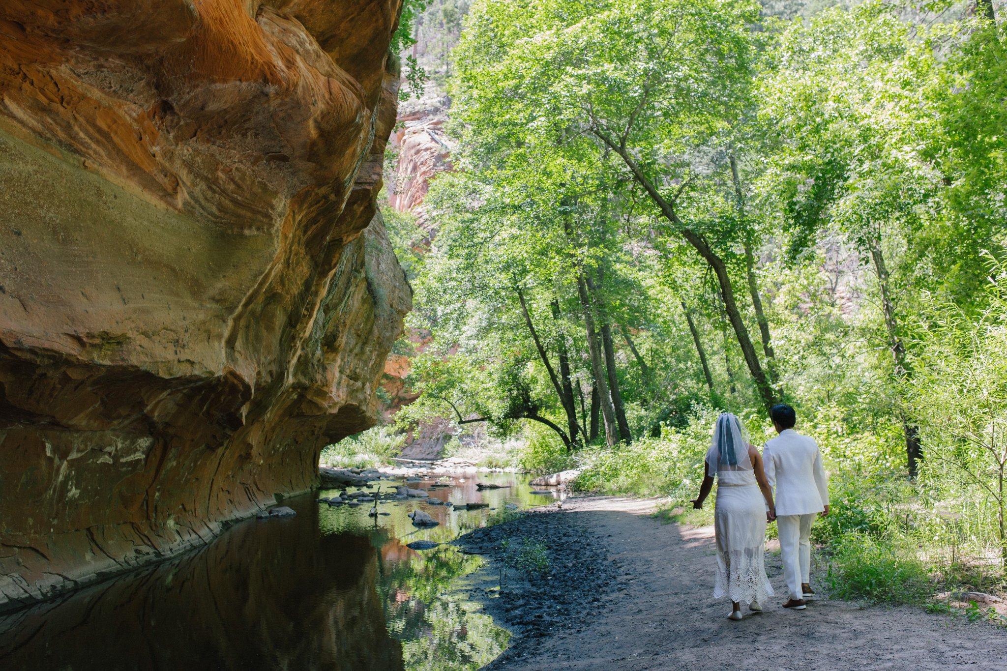 two brides West Fork Sedona elopement creekside
