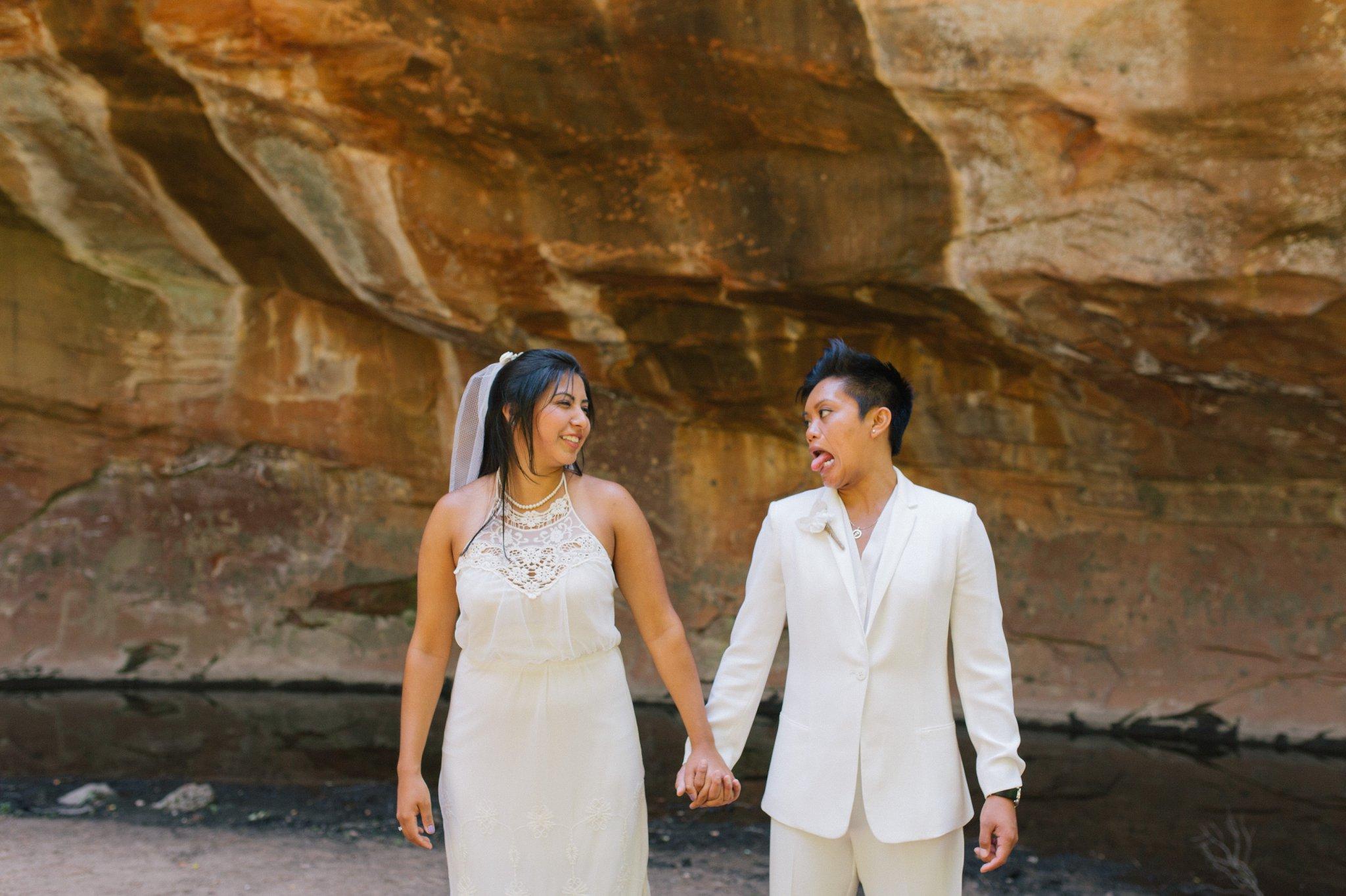candid Sedona LGBT elopement photographer