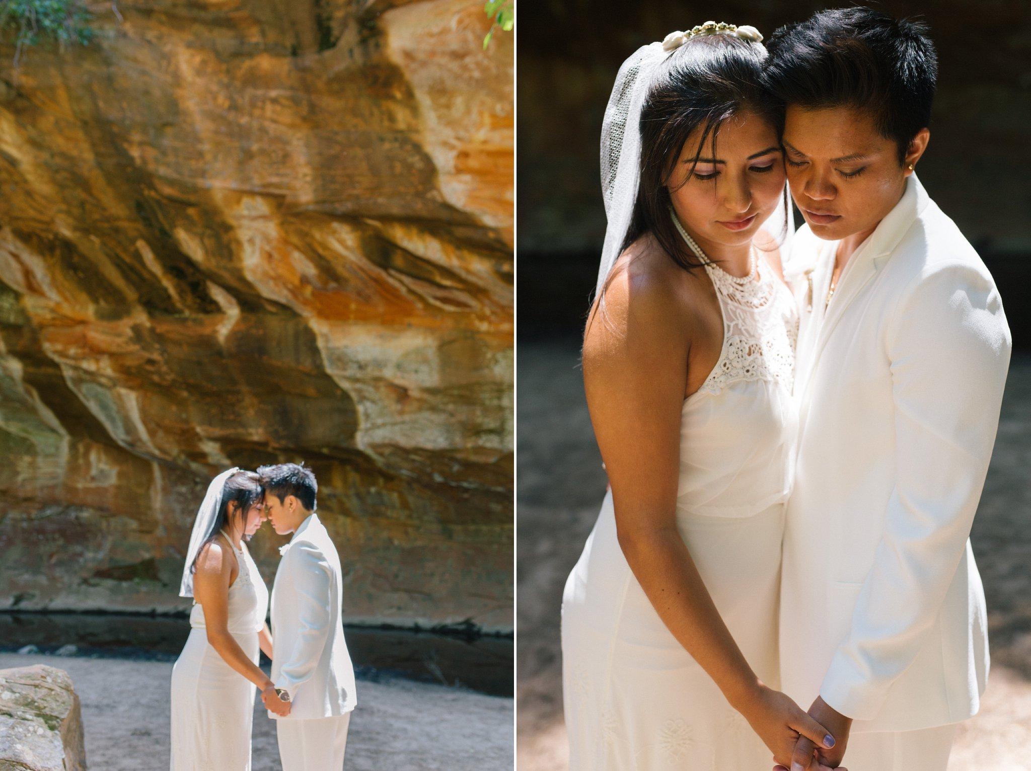 same sex Sedona elopement photographer two brides